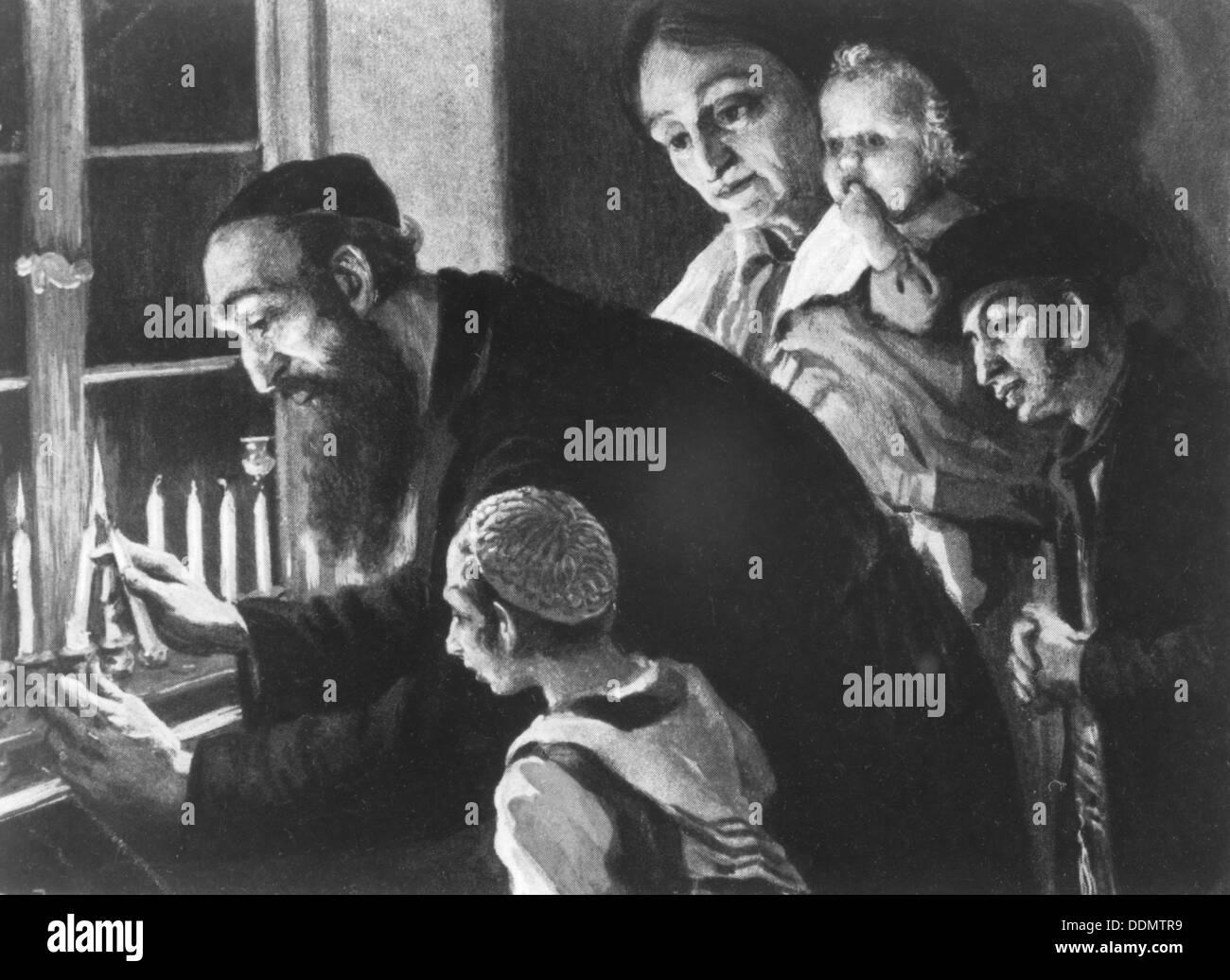 'The Chanucah Lights', c1910. Artist: Stanislav Bender - Stock Image