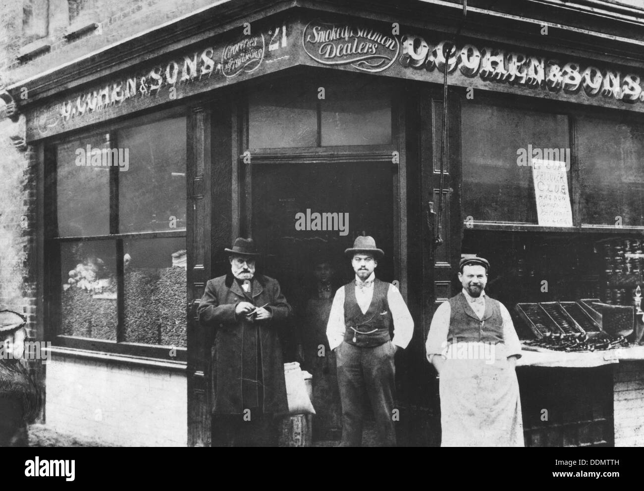 Cohen & Sons, grocers, East End of London, c1890. - Stock Image