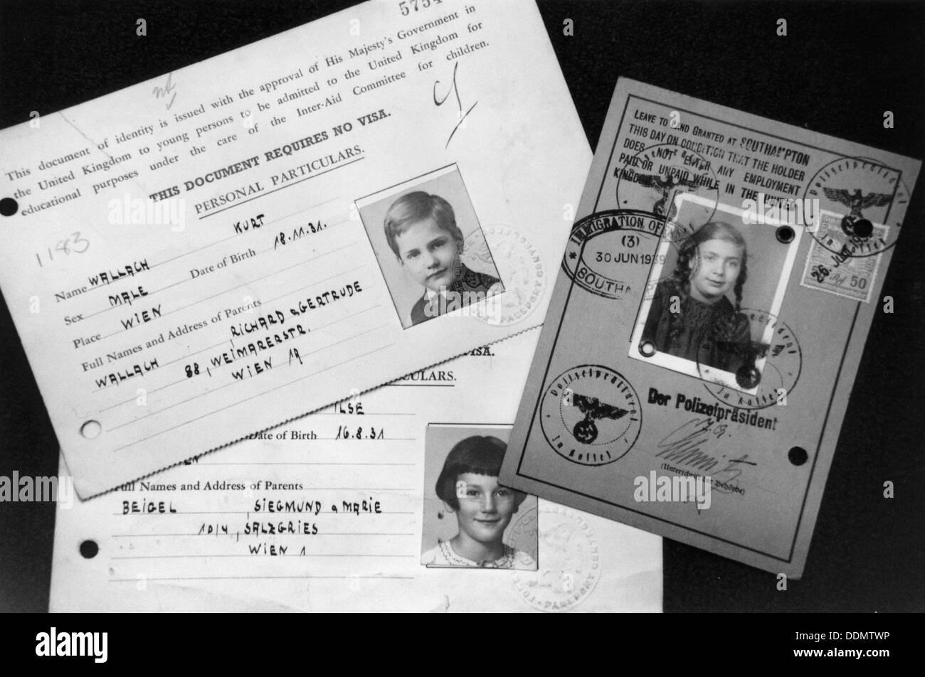 Kindertransport documents, c1939. - Stock Image