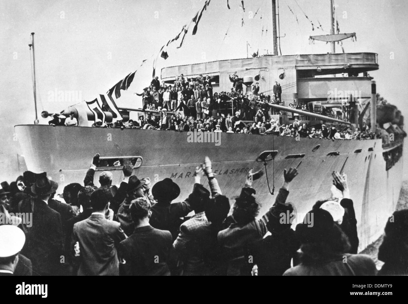 Arrival of SS Marine Flasher, New York, USA, 20  May 1946. - Stock Image
