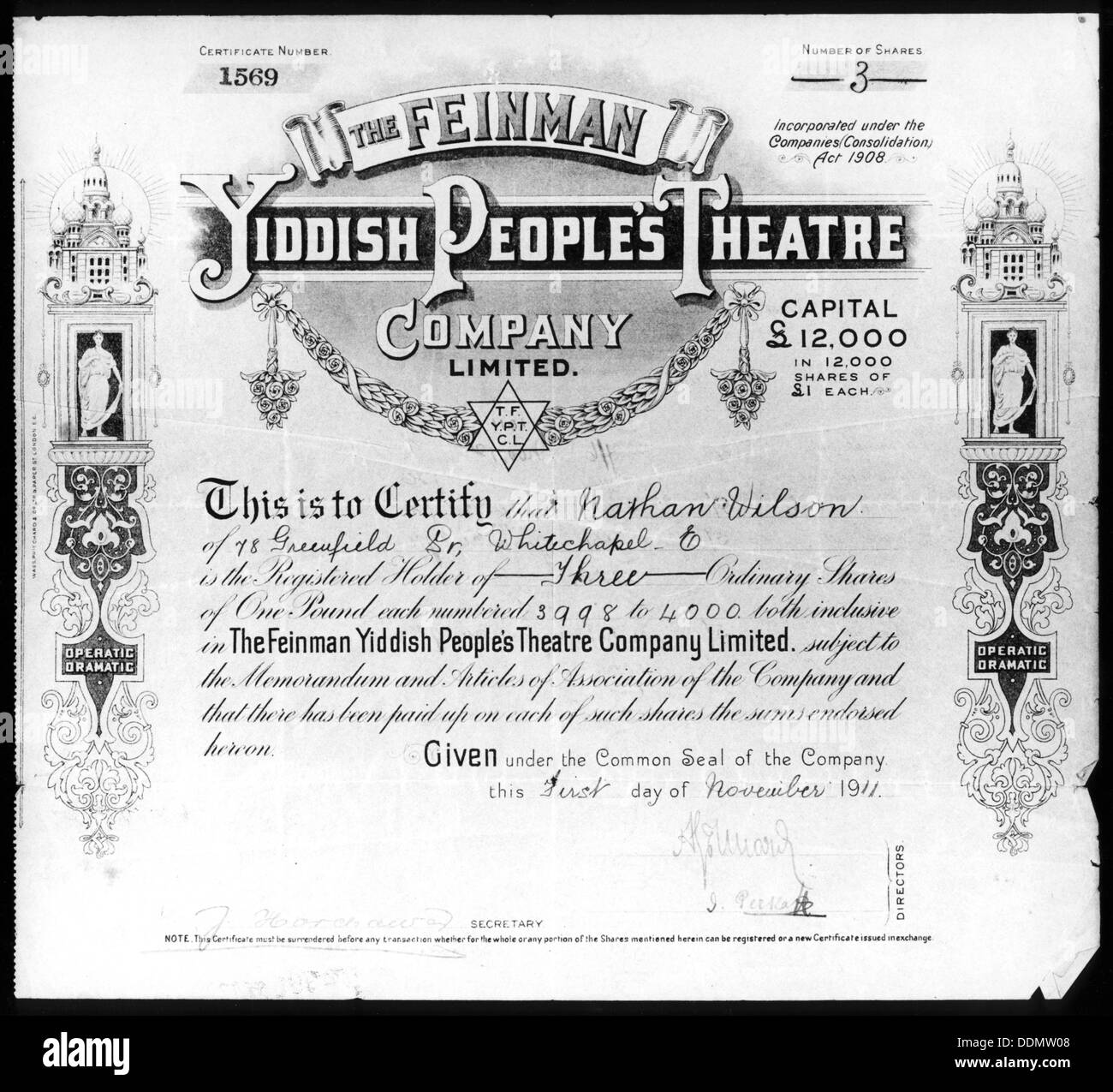 Yiddish People's Theatre share certificate, 1 November 1911. - Stock Image