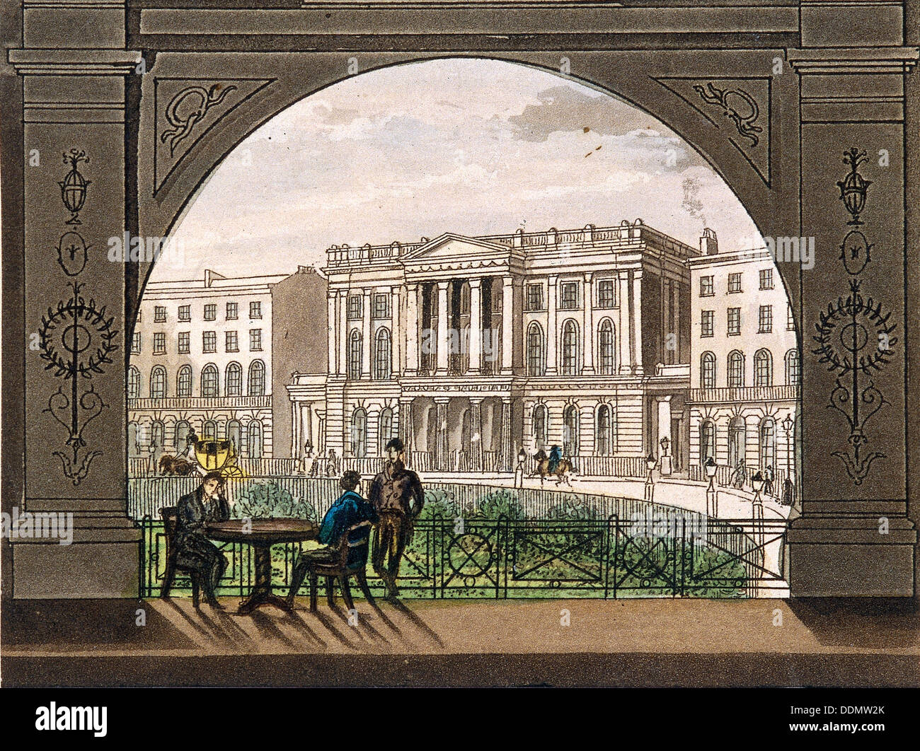 London Institution, Finsbury Circus, c1820. Artist: Anon - Stock Image