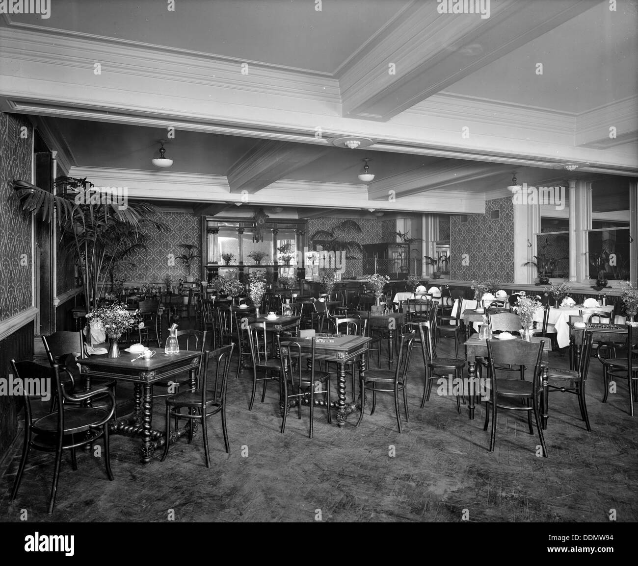 The new brasserie, Monico Restaurant. Shaftesbury Avenue, Westminster, London, 1915. Artist: Bedford Lemere and Stock Photo