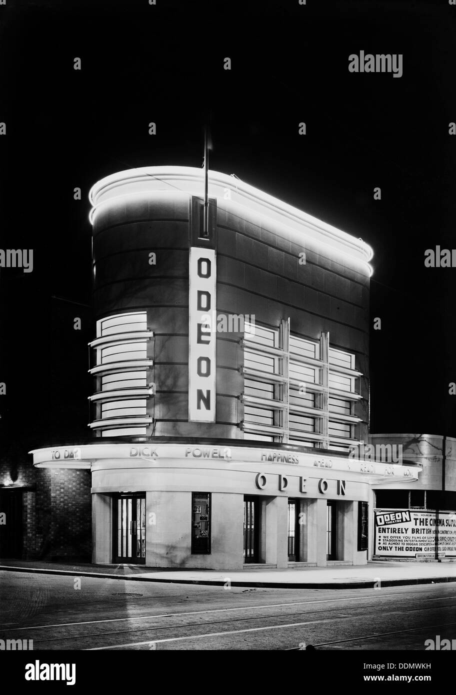 Night view of the Odeon, London Road, Isleworth, London, 1935. Artist: J Maltby - Stock Image