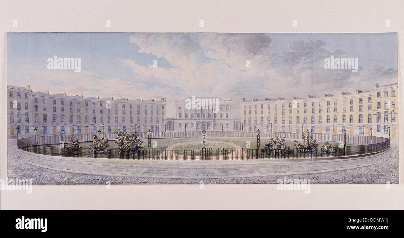 London Institution, Finsbury Circus, London, c1820. Artist: Anon - Stock Image