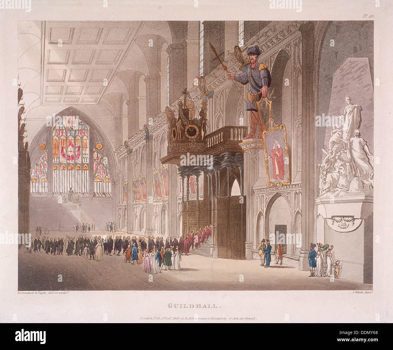 Guildhall, London, 1808. Artist: Augustus Charles Pugin - Stock Image