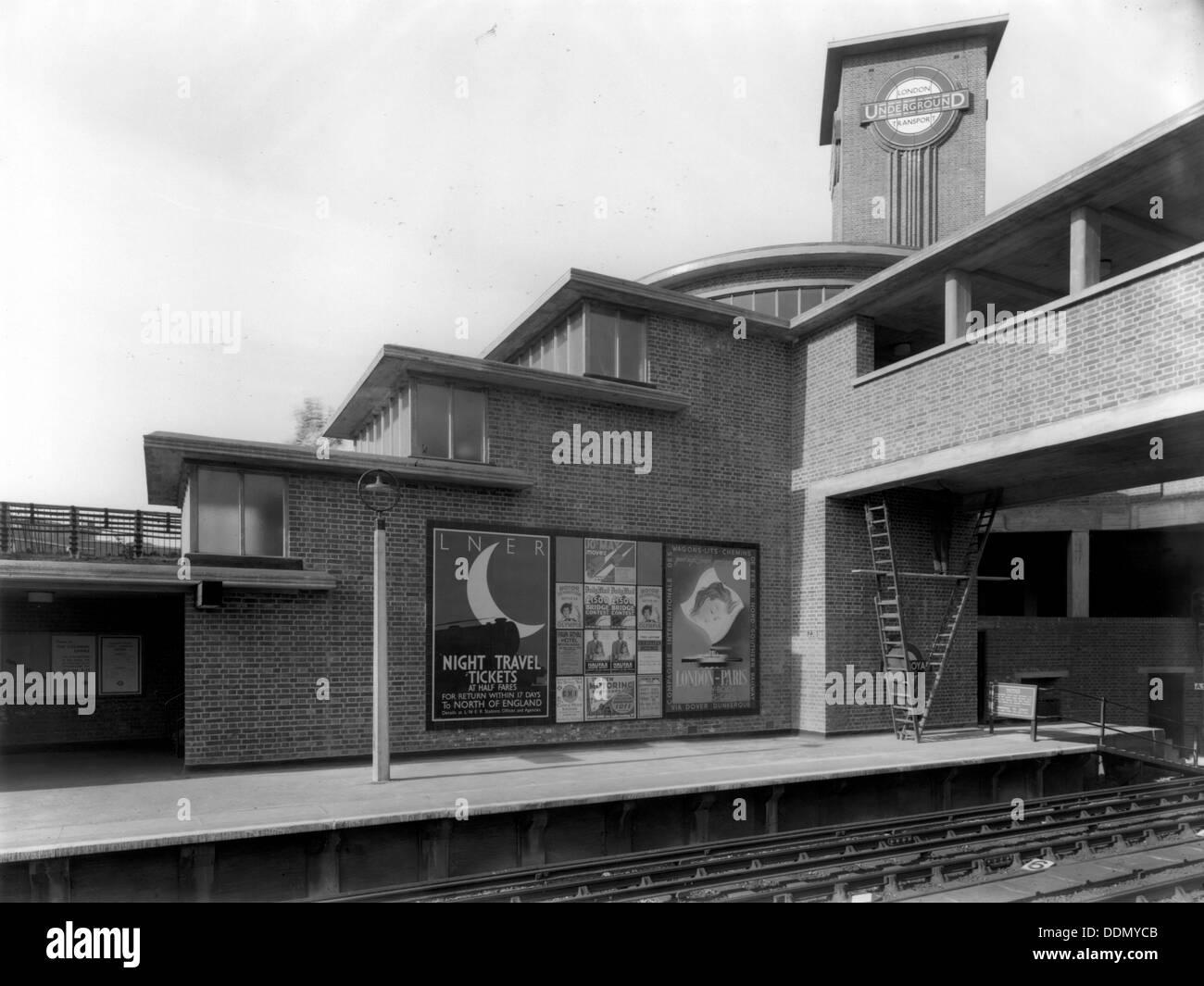 Park Royal Underground Station, Western Avenue, Ealing, London, c1936. Artist: Herbert Felton - Stock Image