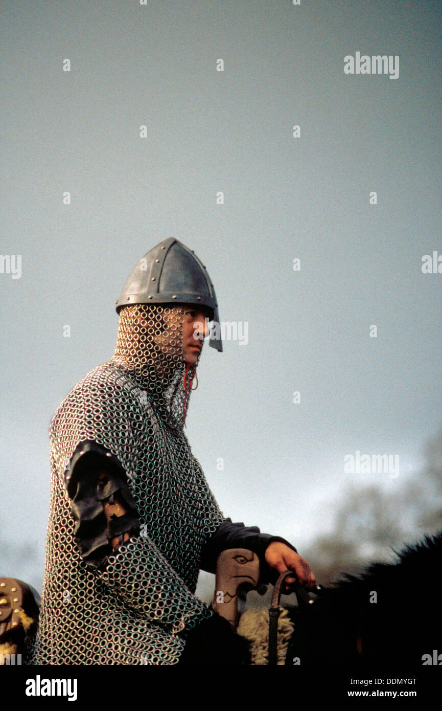 Knight on horseback, from a battle re-enactment.  Artist: Geoffrey Davis - Stock Image