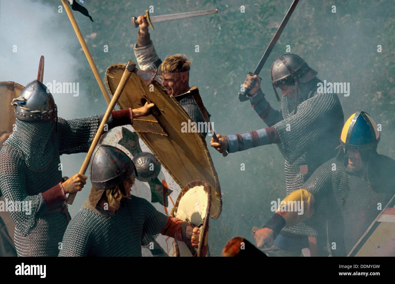 Battle re-enactment. Artist: Geoffrey Davis - Stock Image