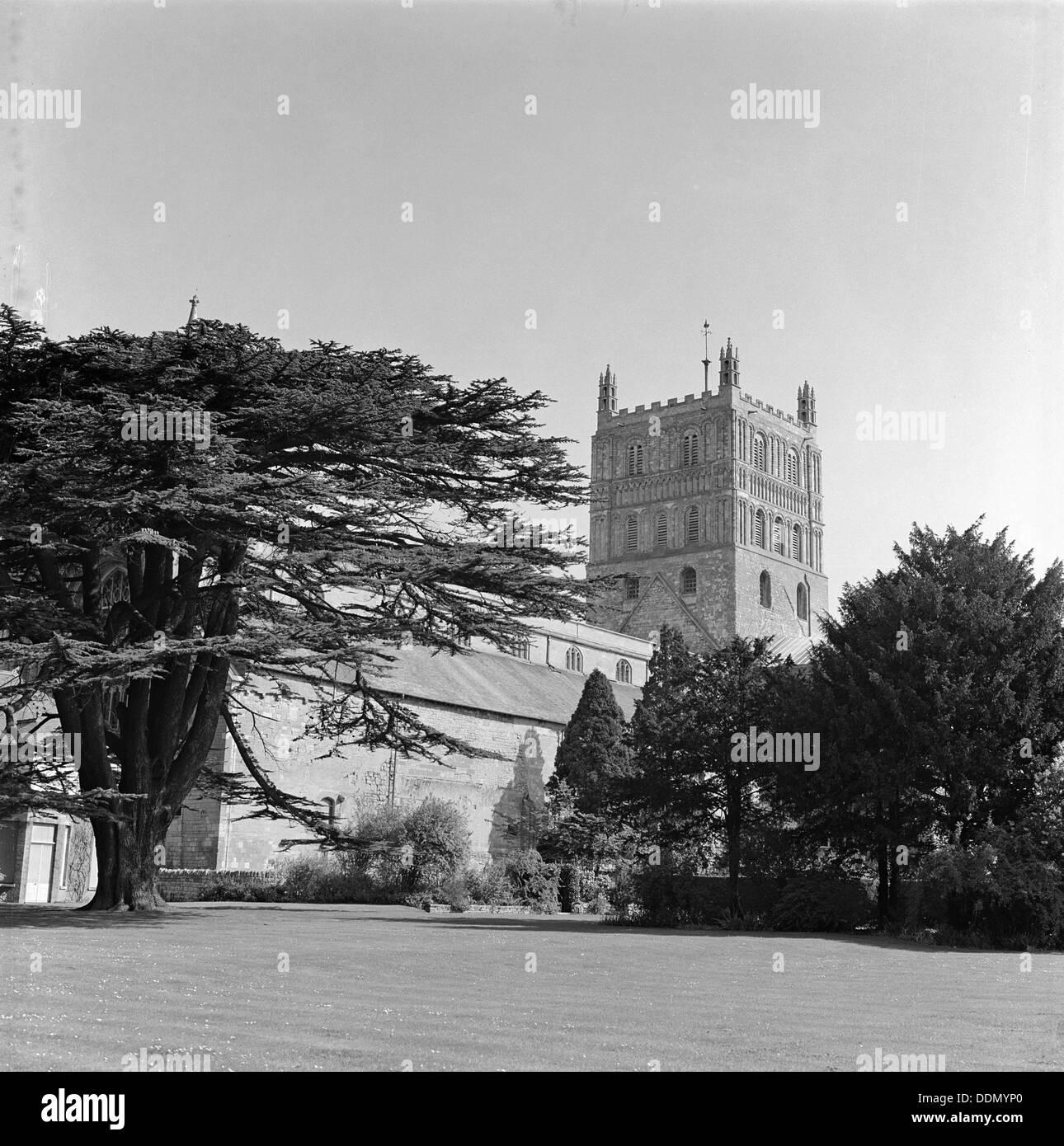 Tewkesbury Abbey, Gloucestershire, 1965. Artist: Laurence Goldman - Stock Image