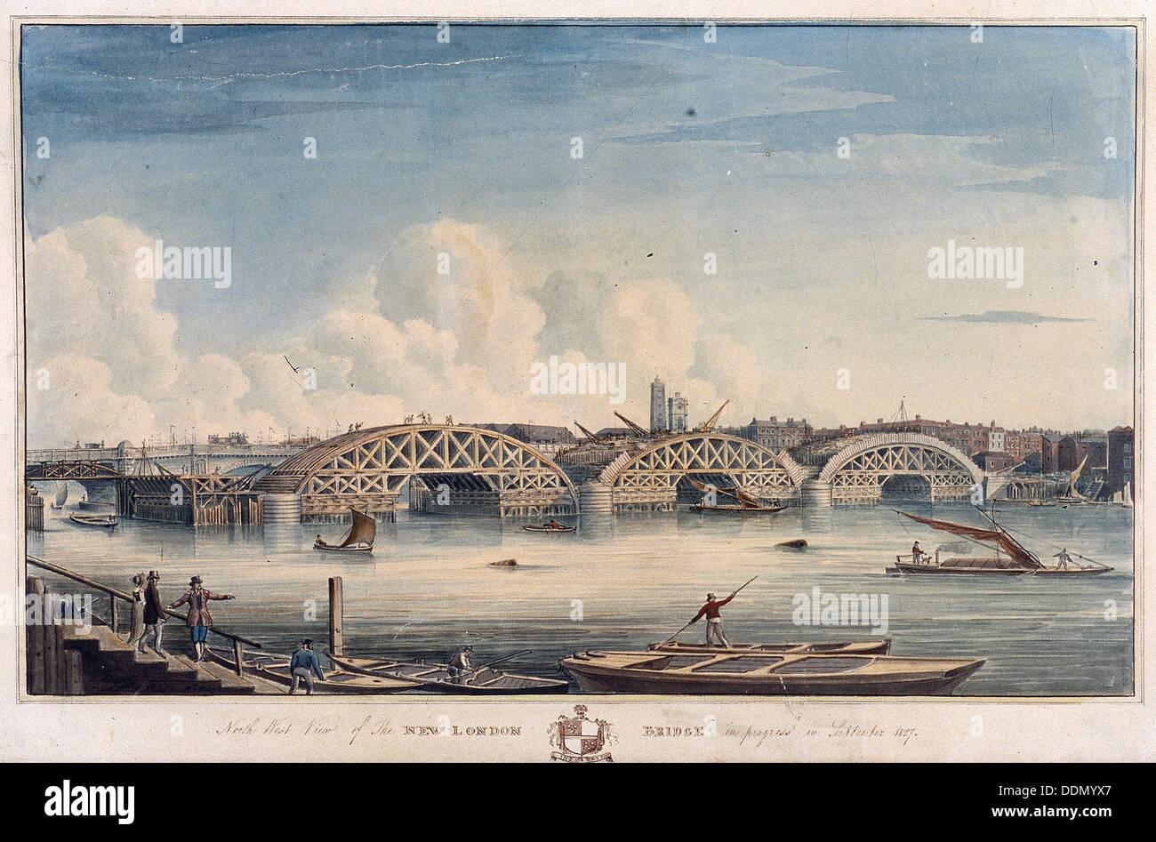 New London Bridge, London, 1827. Artist: G Yates - Stock Image