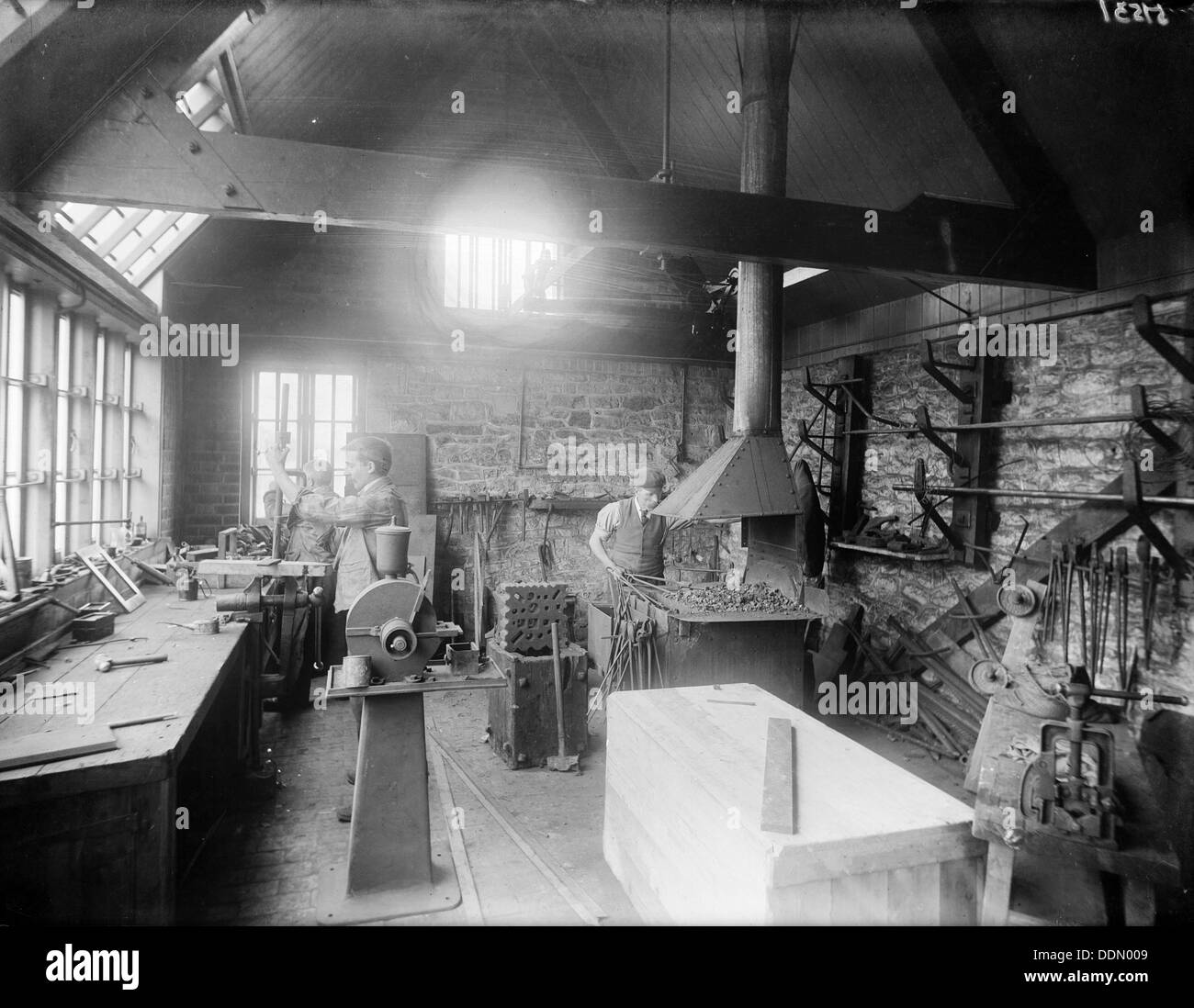 Interior of a workshop with a furnace, Oxford, Oxfordshire, c1860-c1922. Artist: Henry Taunt - Stock Image