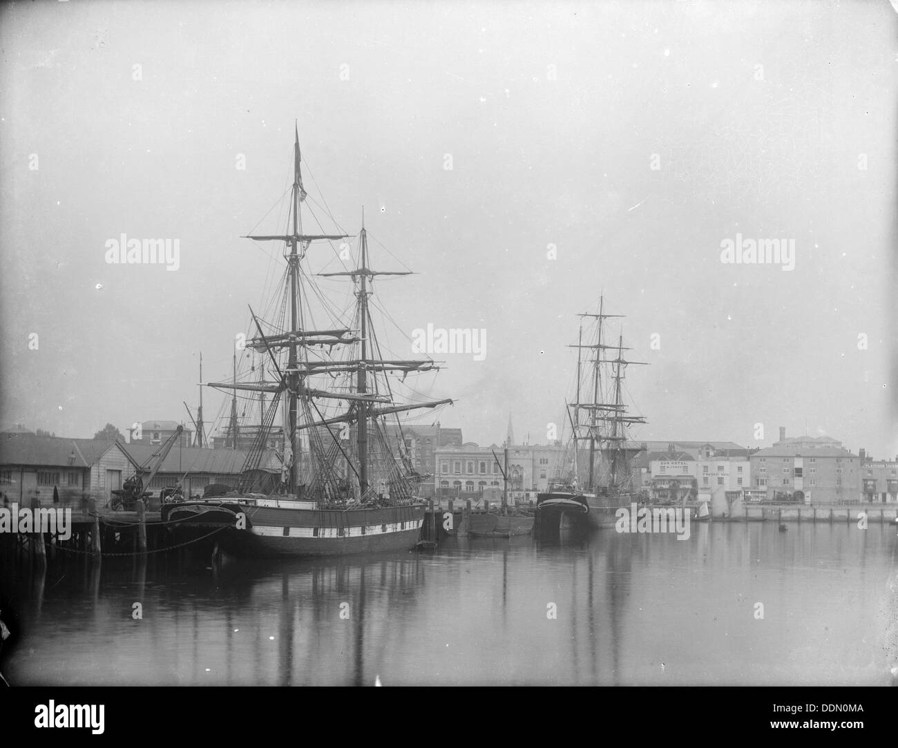 Two sailing ships, Southampton, Hampshire, 1878. Artist: Henry Taunt - Stock Image