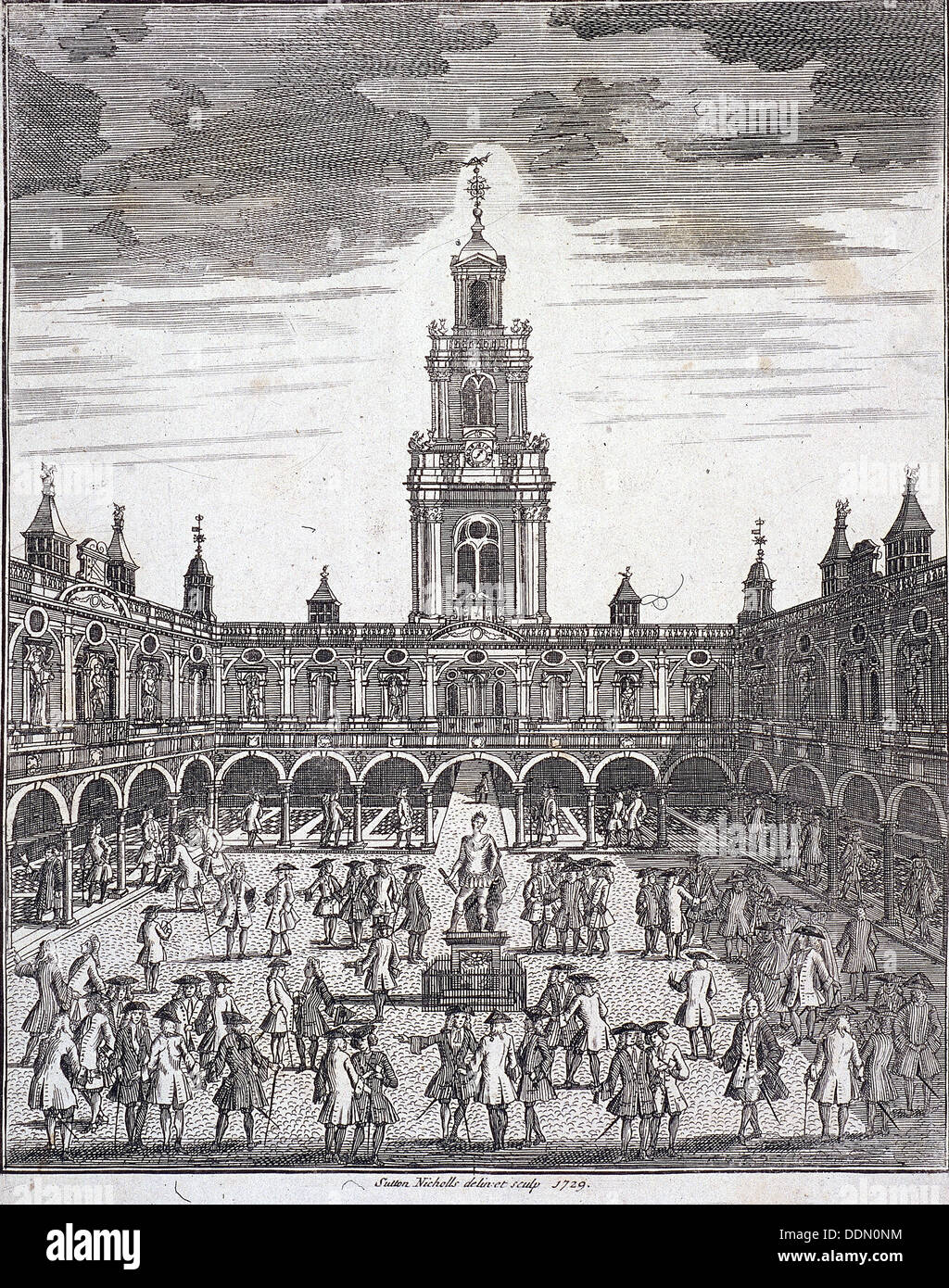 Courtyard of the Royal Exchange (2nd) London, 1729. Artist: Sutton Nicholls - Stock Image