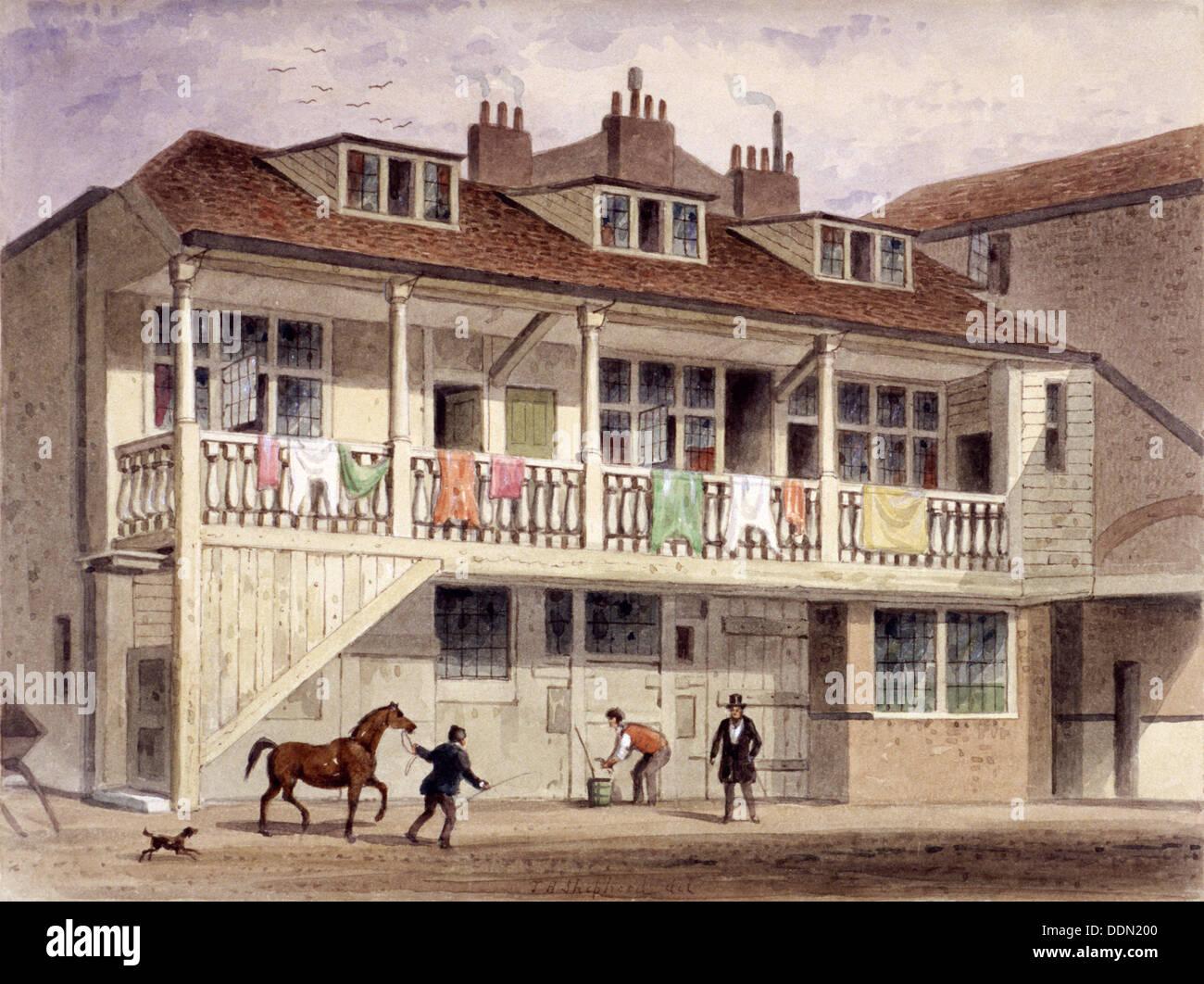 The Black Lion Inn, Whitefriars Street, London, c1855.  Artist: Thomas Hosmer Shepherd - Stock Image