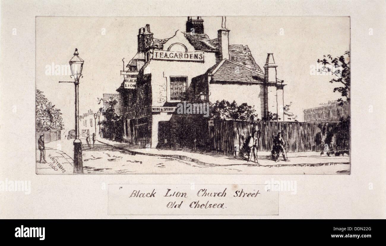 View of the Black Lion Inn, London, 1860. Artist: Walter Greaves - Stock Image