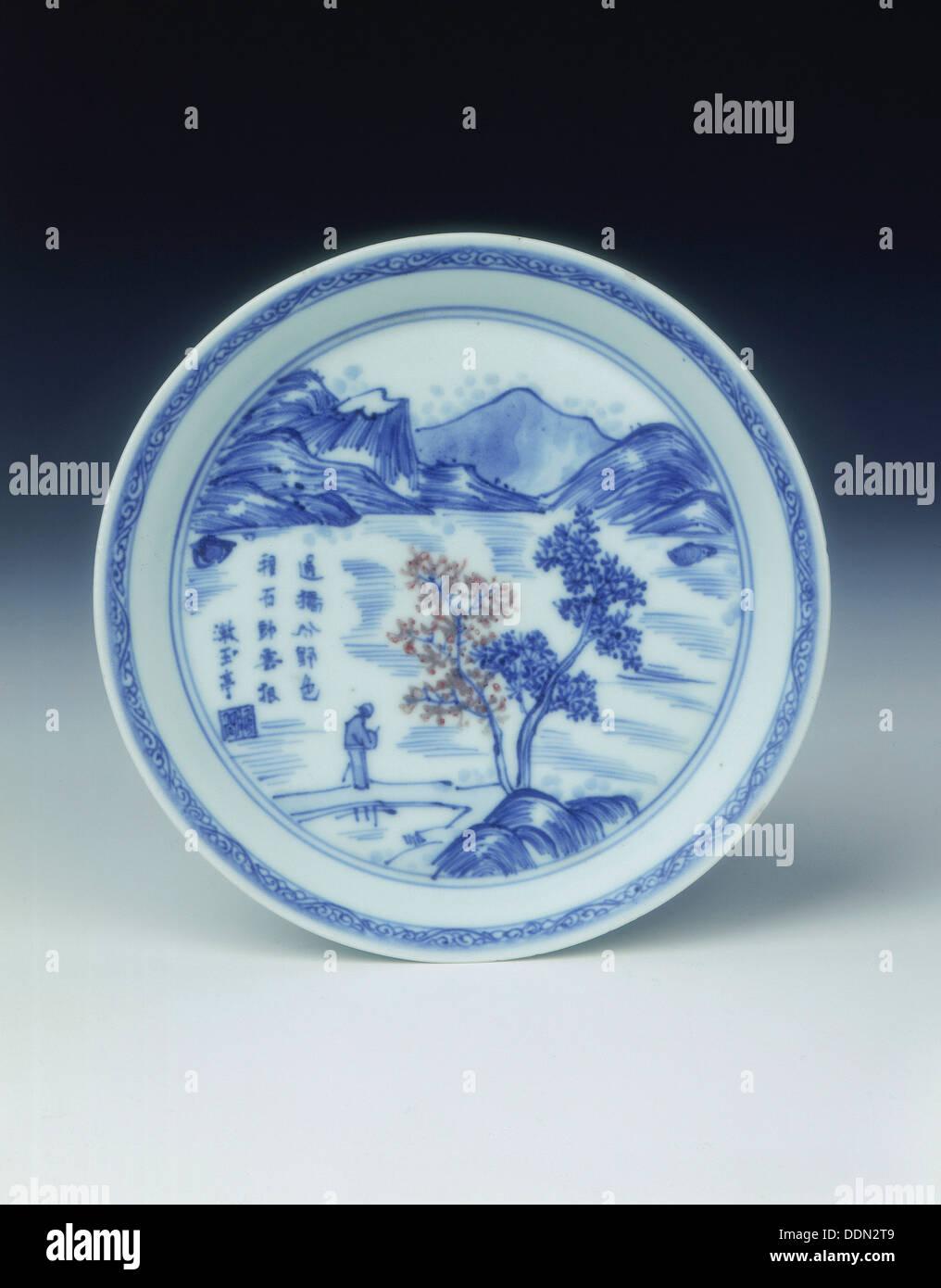 'Master of the Rocks' dish, Kangxi period, Qing dynasty, China, 1671. - Stock Image