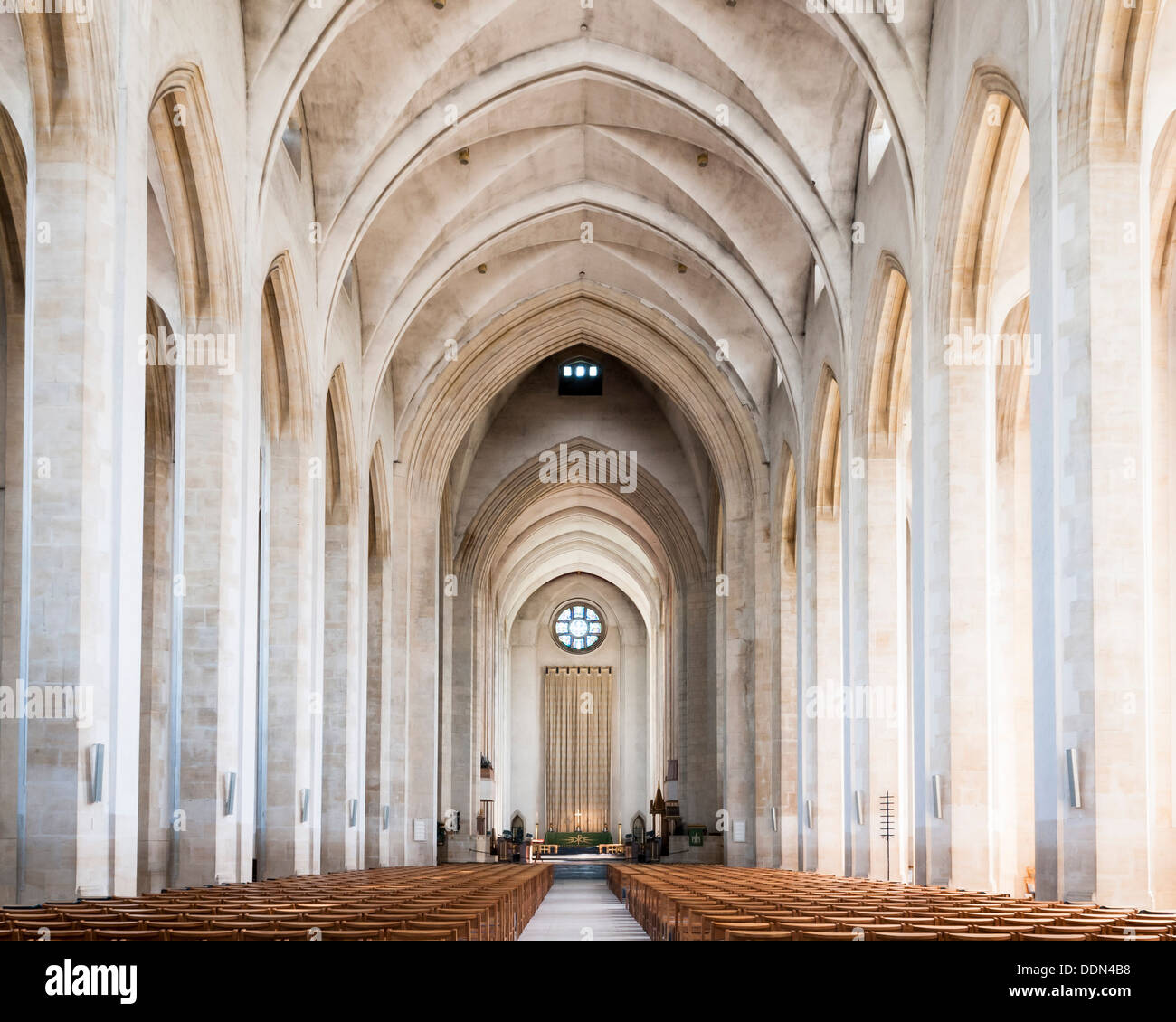 Guildford Cathedral, Guildford, United Kingdom. Architect: Sir Edward Maufe, 1961. View of main hall. Stock Photo