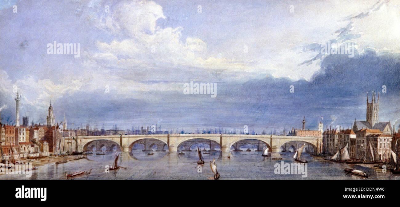 New London Bridge, London, 1829. Artist: Augustus Charles Pugin - Stock Image