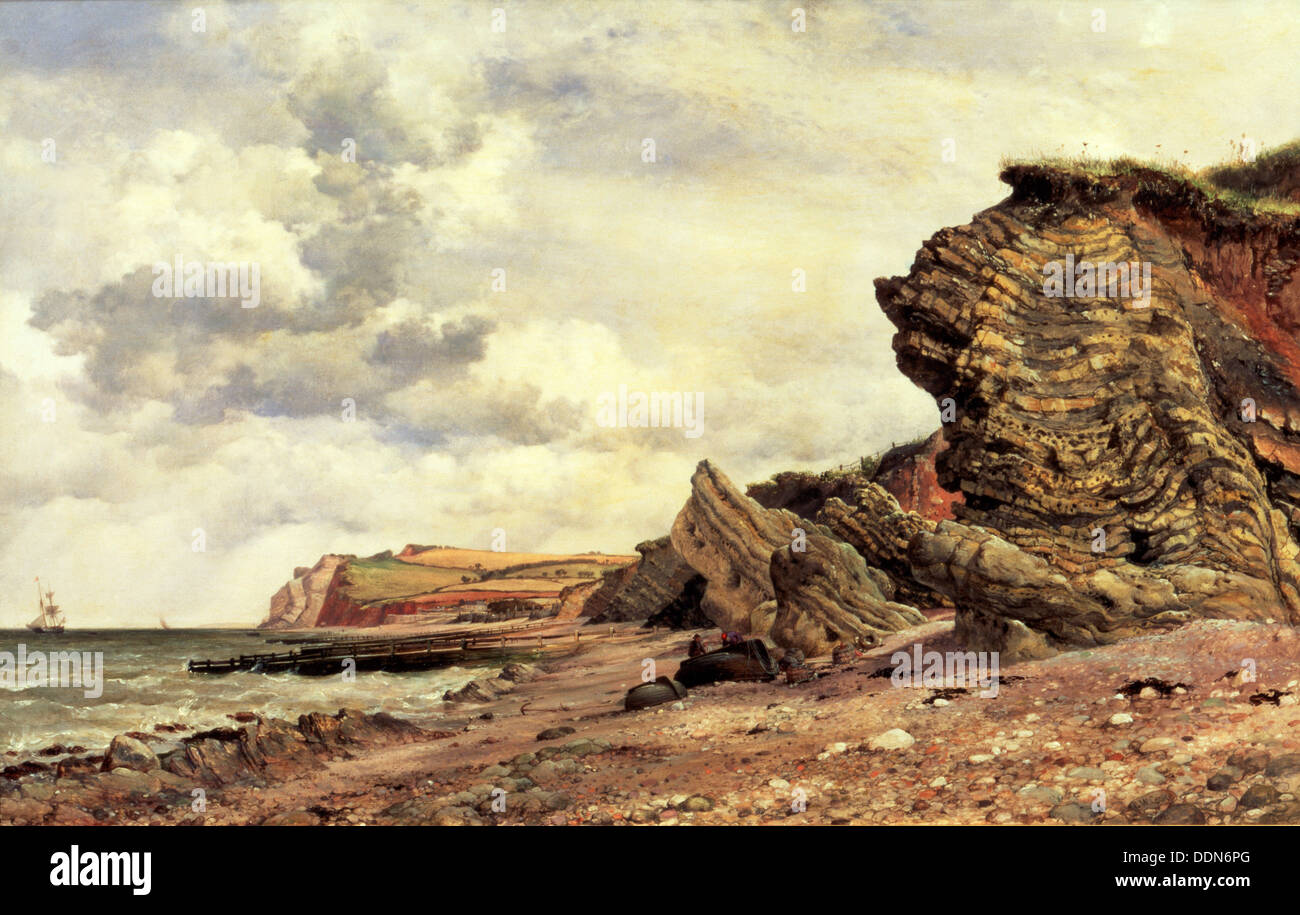 'Triassic Cliffs, Blue Anchor, North Somerset', 1866. Artist: Edward William Cooke - Stock Image