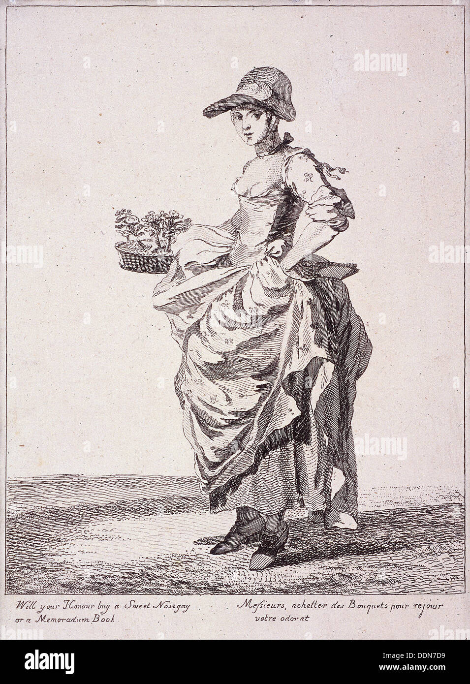 Nosegay and memo book seller, Cries of London, 1760. Artist: Paul Sandby - Stock Image