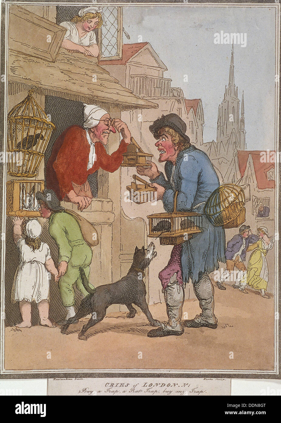 'Buy a Trap, a Rat Trap, buy my Trap', plate I of Cries of London, 1799. Artist: H Merke - Stock Image