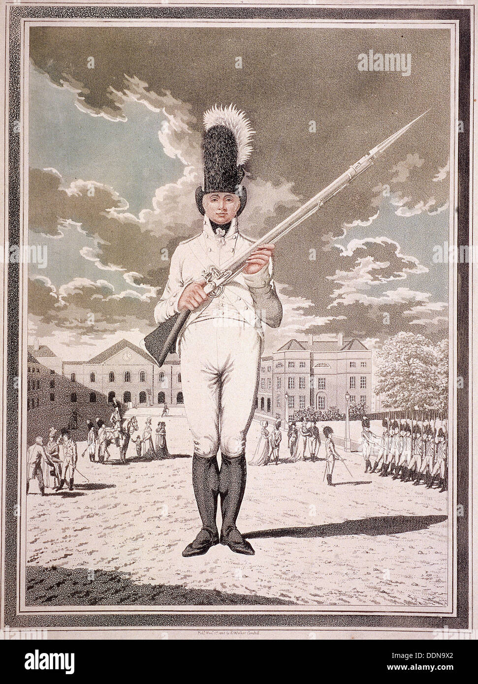Military figure in the uniform of the Bloomsbury and Inns of Court Association, 1803. Artist: Anon - Stock Image