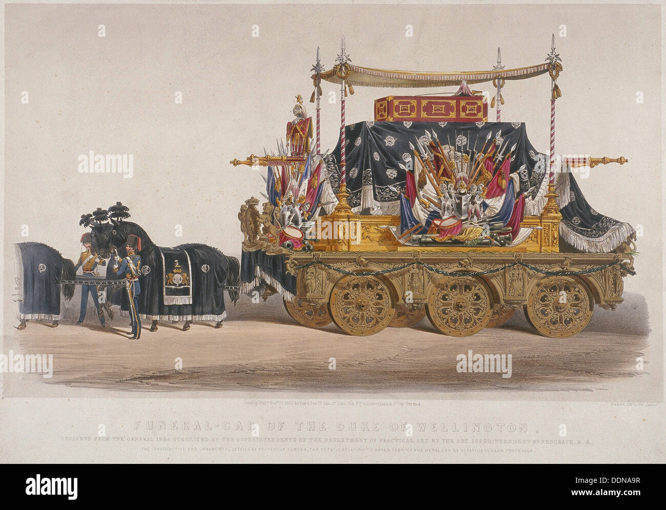 View of the funeral car of the Duke of Wellington, 1852. Artist: Richard Redgrave - Stock Image