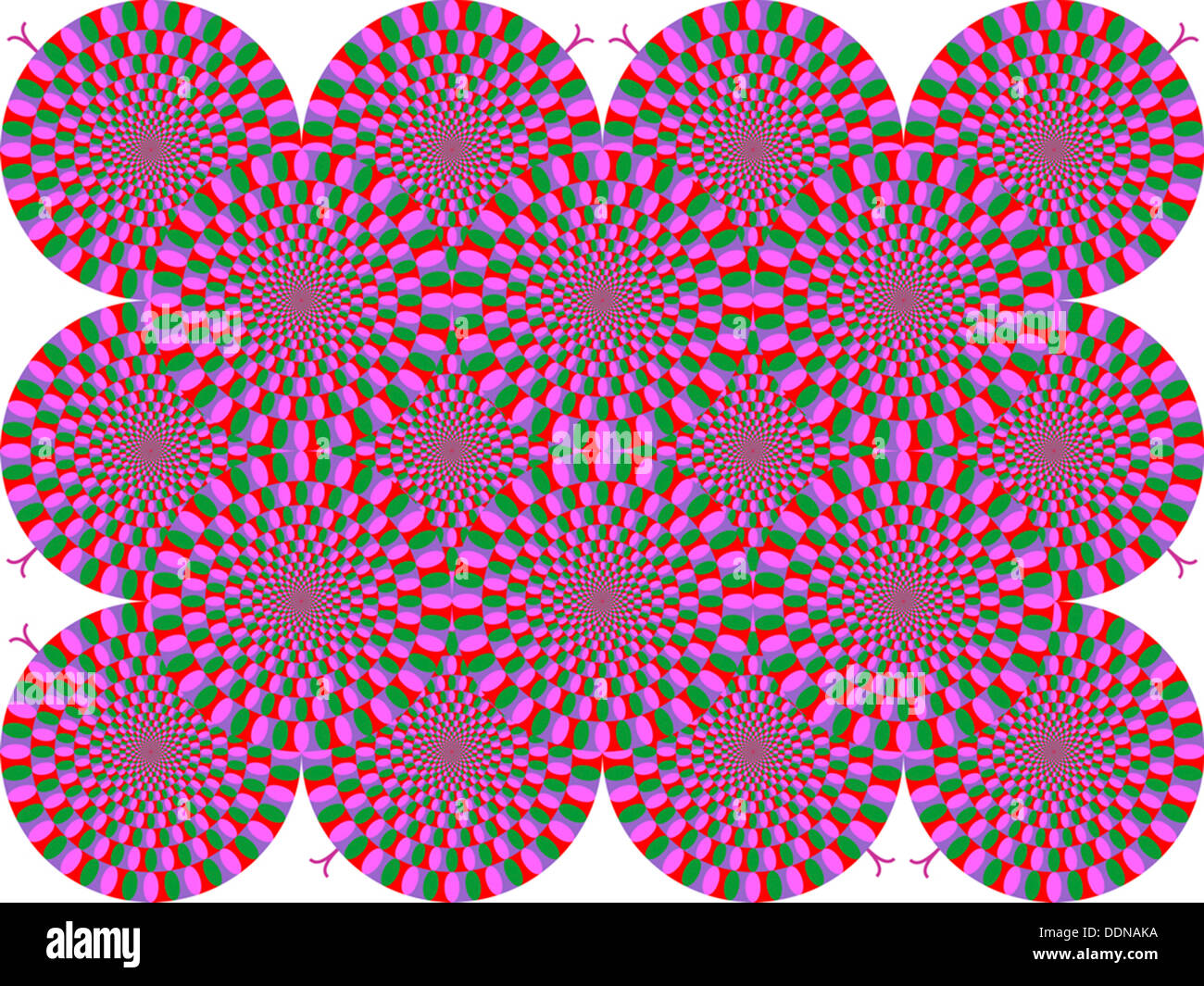 Rotating snakes illusion - Stock Image