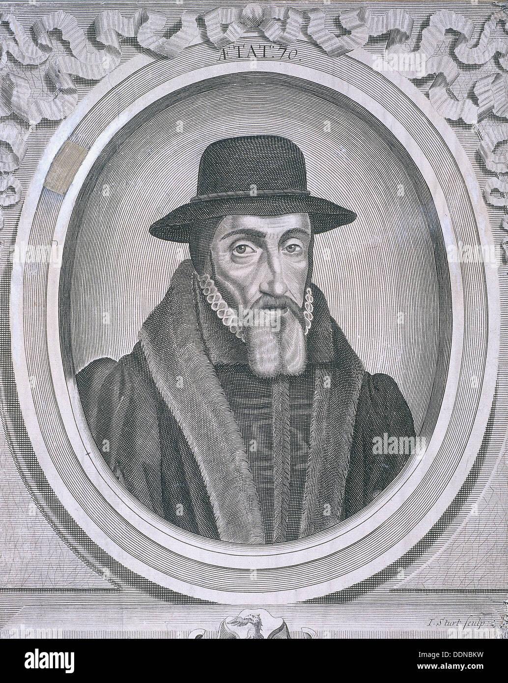Oval portrait of John Foxe, c1570, (c1700). Artist: John Sturt - Stock Image