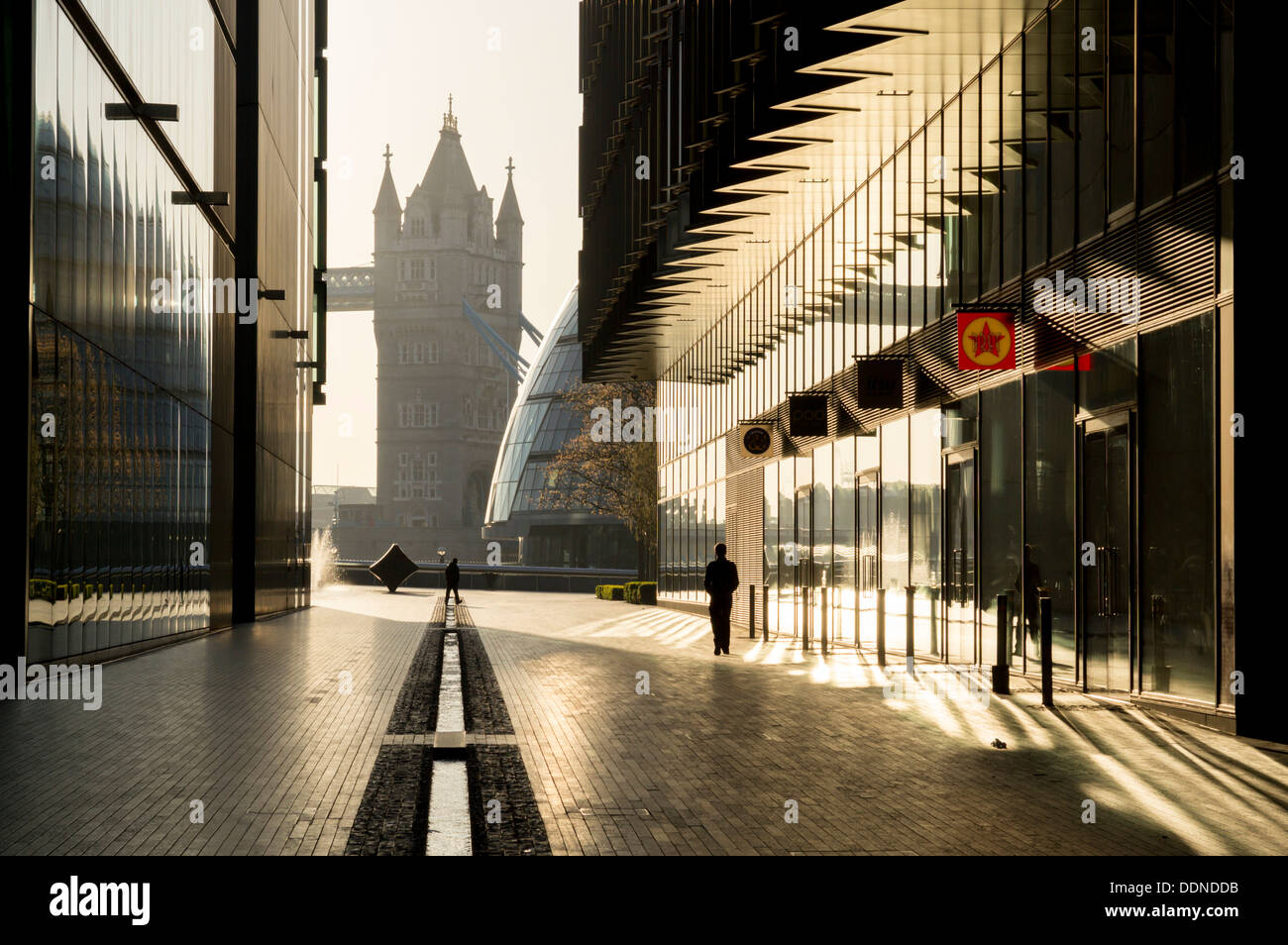 Tower Bridge and office buildings, London, England, UK - Stock Image