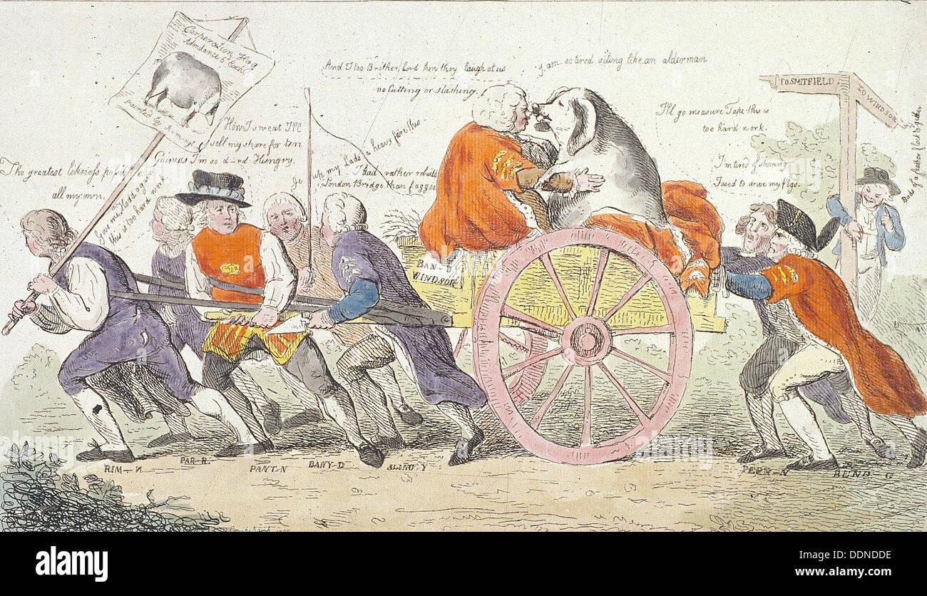 'The Corporation hog's journey to Smithfield in stile or aldermen turned pig show men., 1790. Artist: Isaac - Stock Image