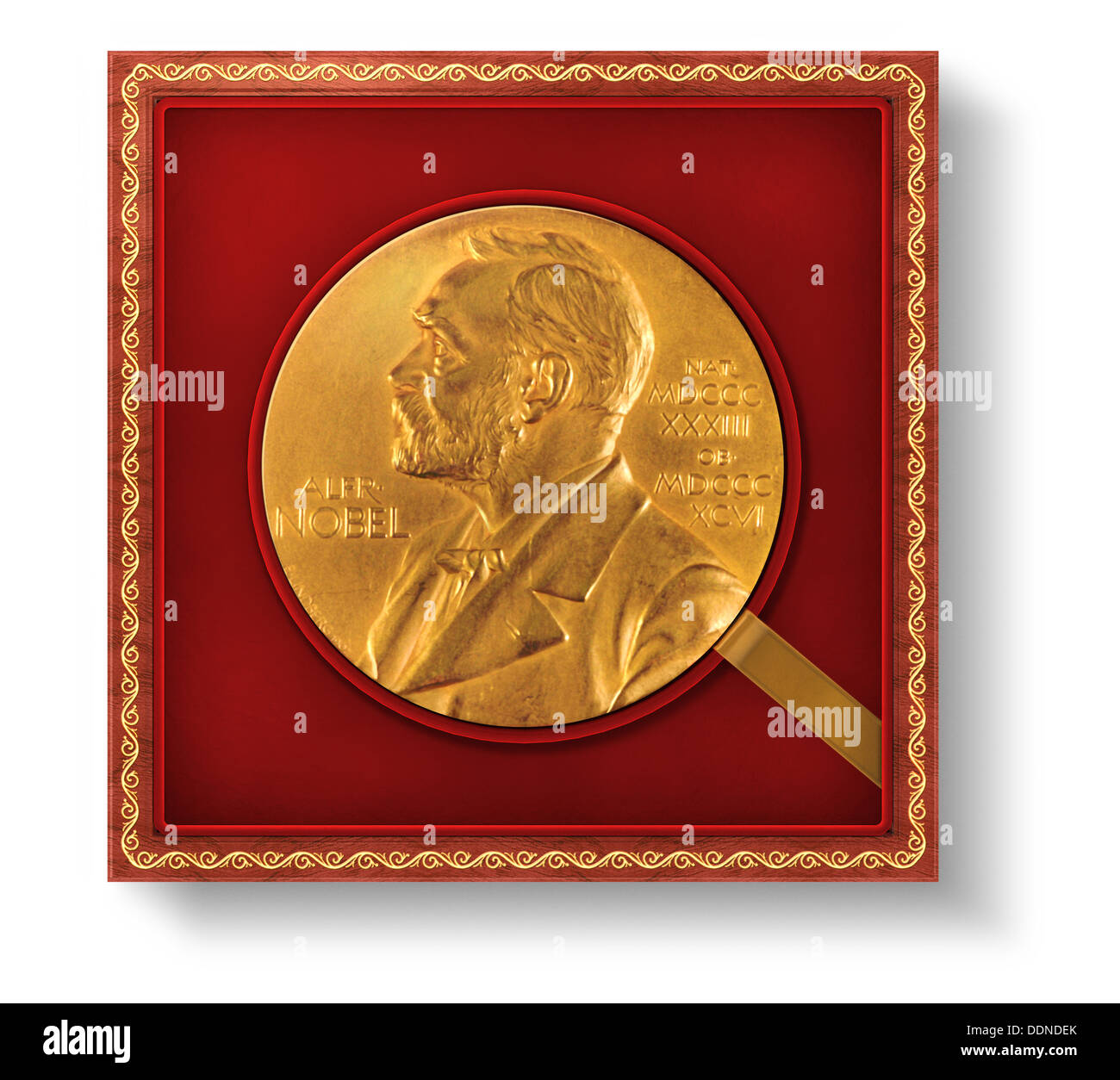 Alfred Nobel, Nobel Prize, honor, award, gold coin - Stock Image
