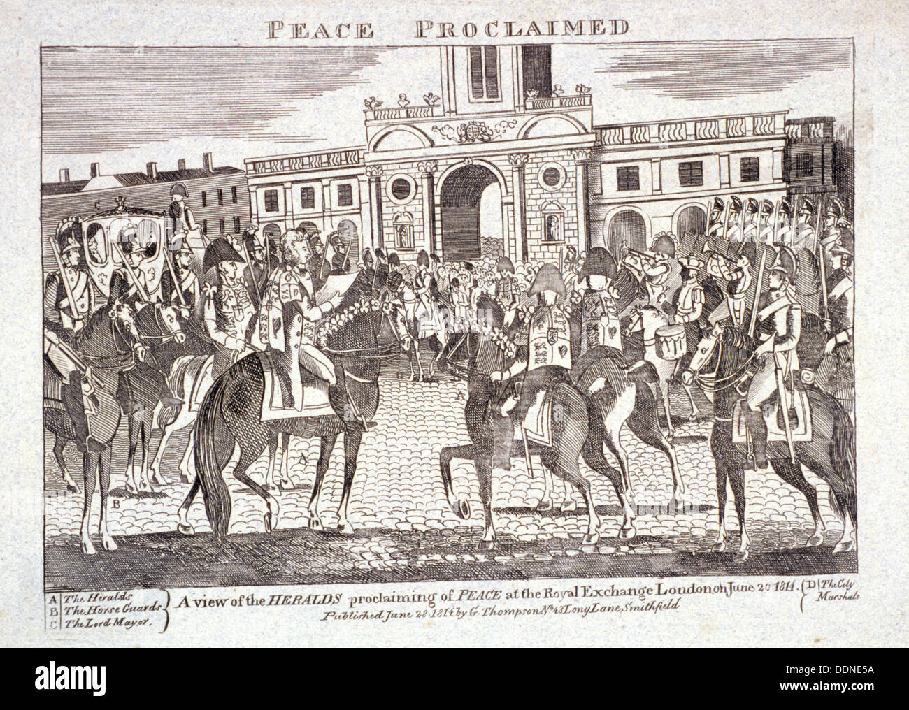 Heralds reading proclamation of peace,  Royal Exchange, London, June 28th 1814. Artist: Anon - Stock Image