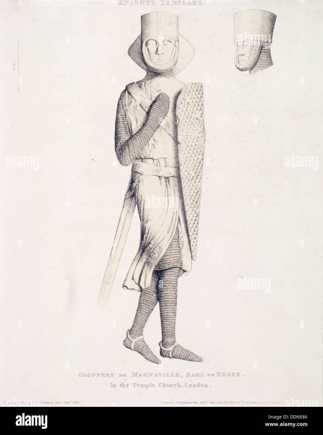 View of the effigy of Geoffrey de Mandeville, Earl of Essex, from Temple Church, London, 1840. Artist: Charles Alfred Stothard - Stock Image
