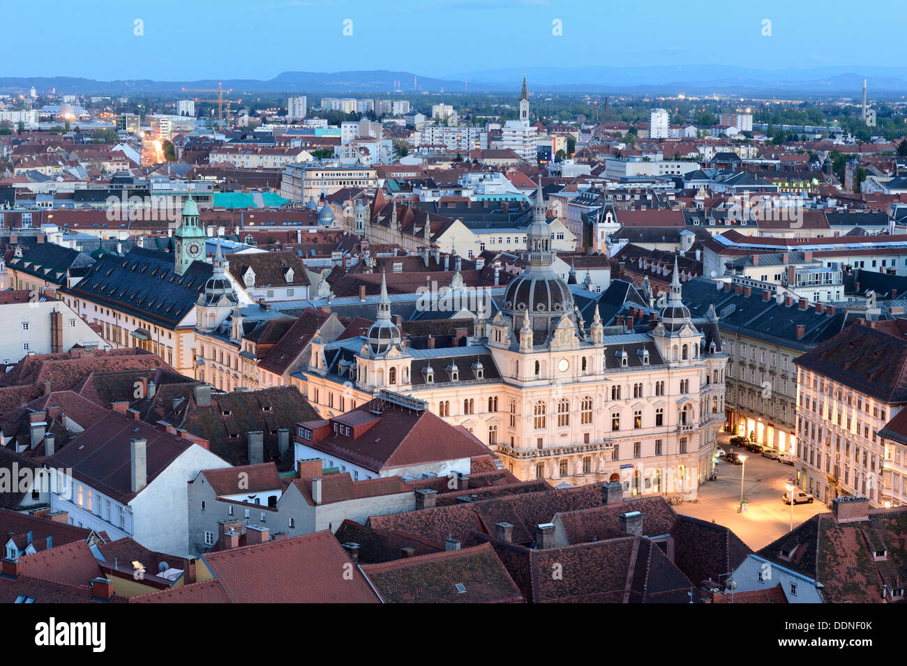 Urban landscape of Graz at blue hour, Styria, Austria - Stock Image