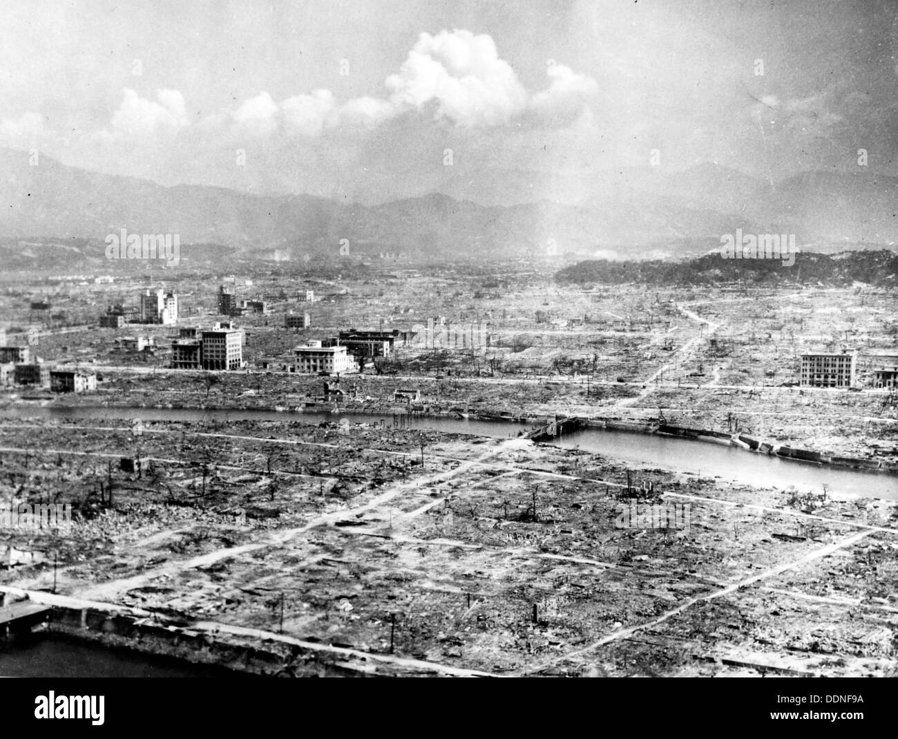 Hiroshima Atomic bomb aftermath, destruction of Hiroshima, Japan - Stock Image