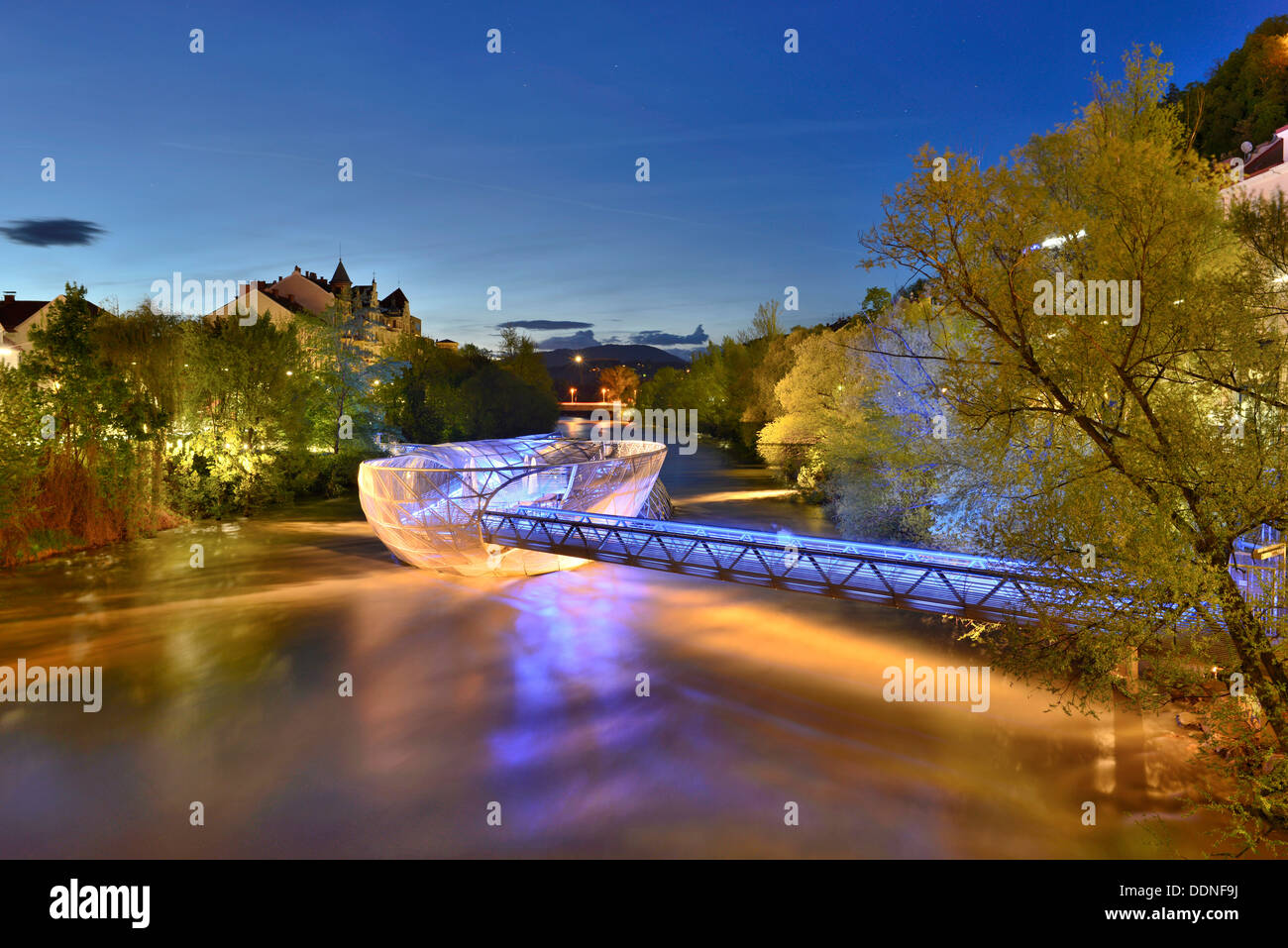 Murinsel in Graz at blue hour, Styria, Austria - Stock Image