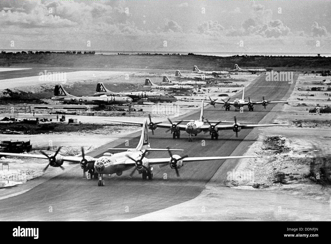 29th Bombardment Group B-29s at North Field, Tinian, 1945 - Stock Image