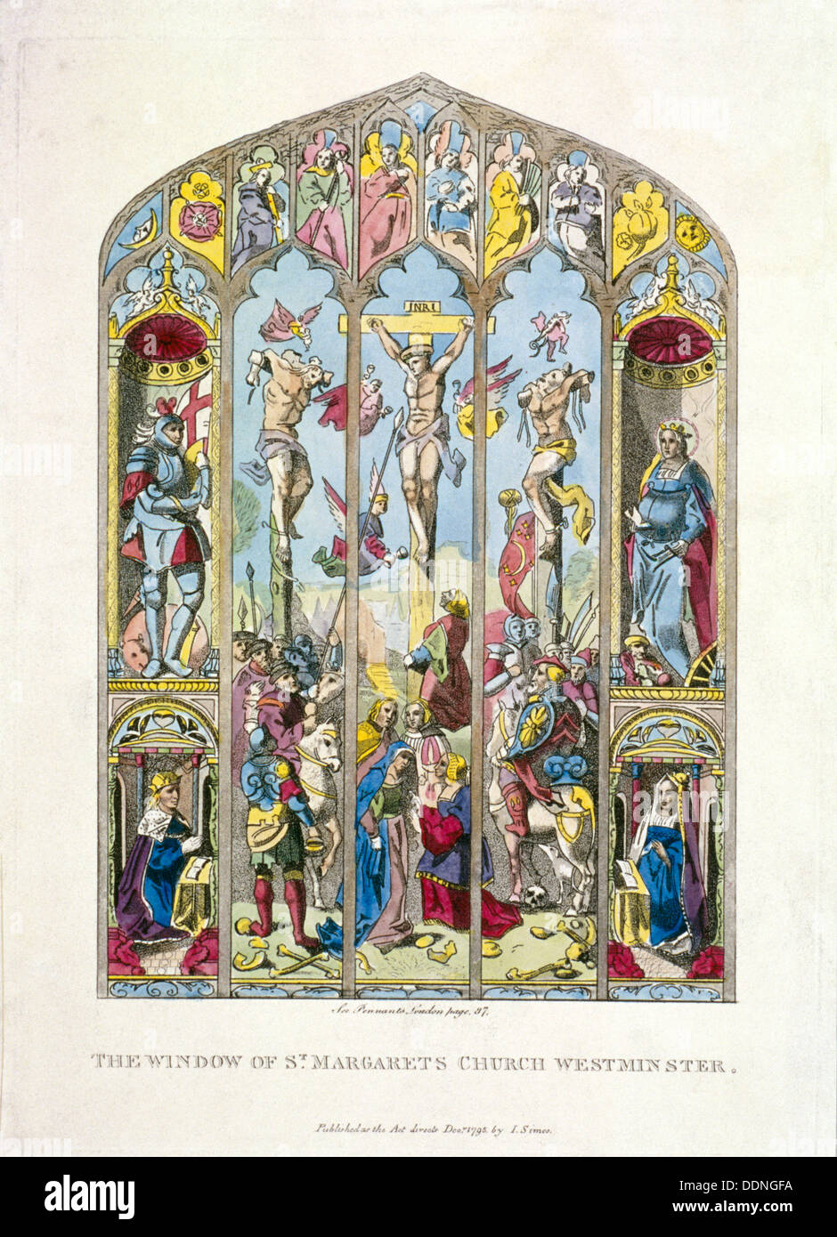 East window in St Margaret, Westminster, depicting the crucifixion, London, 1795. Artist: Anon - Stock Image