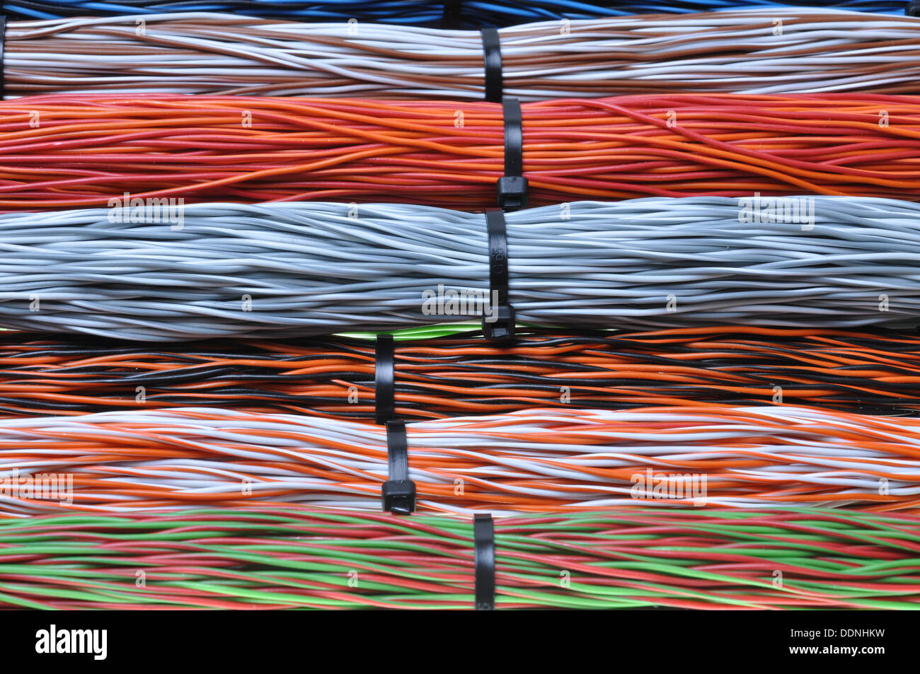 Network cables, wires in telecommunication and computer networks ...