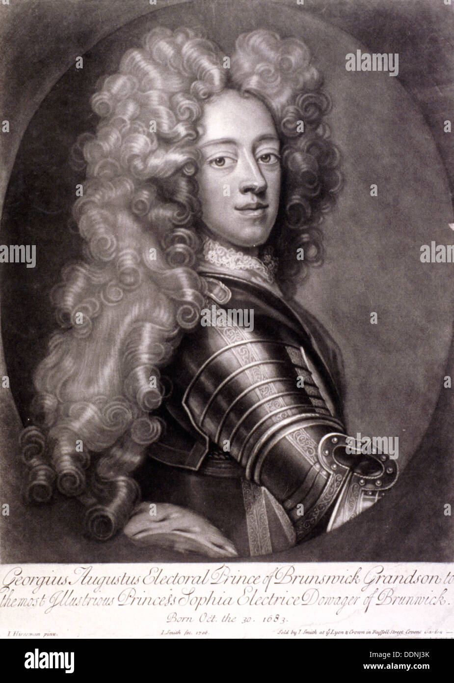 George II, King of Great Britain, 1706. Artist: Joseph Smith - Stock Image