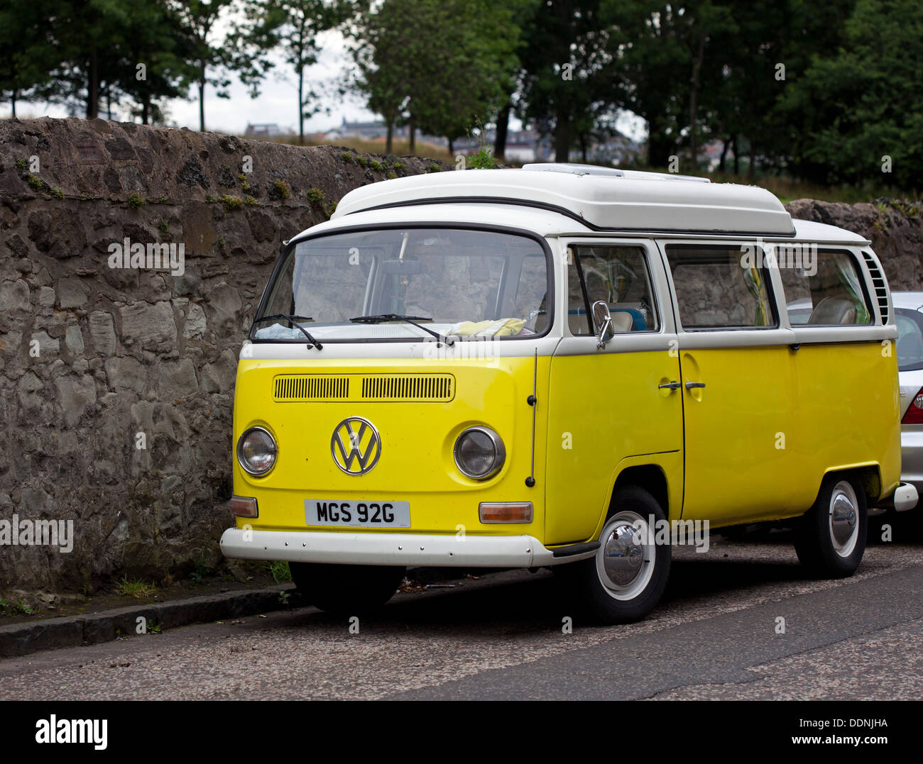 Volkswagen Camper Van Yellow And White Stock Photo Alamy
