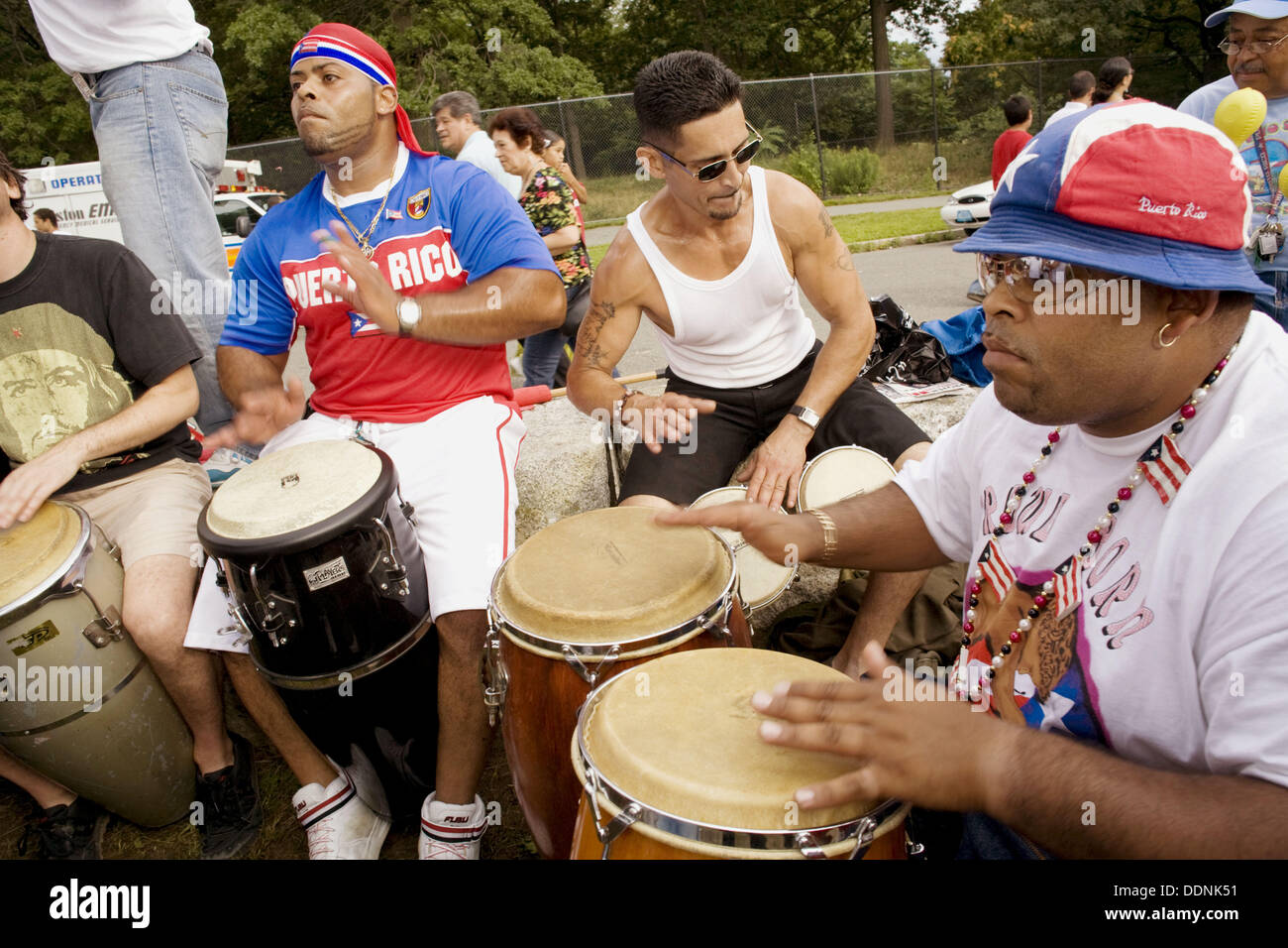 Drum players at Puerto Rican festival, Franklin Park, Boston, Massachusetts, USA - Stock Image