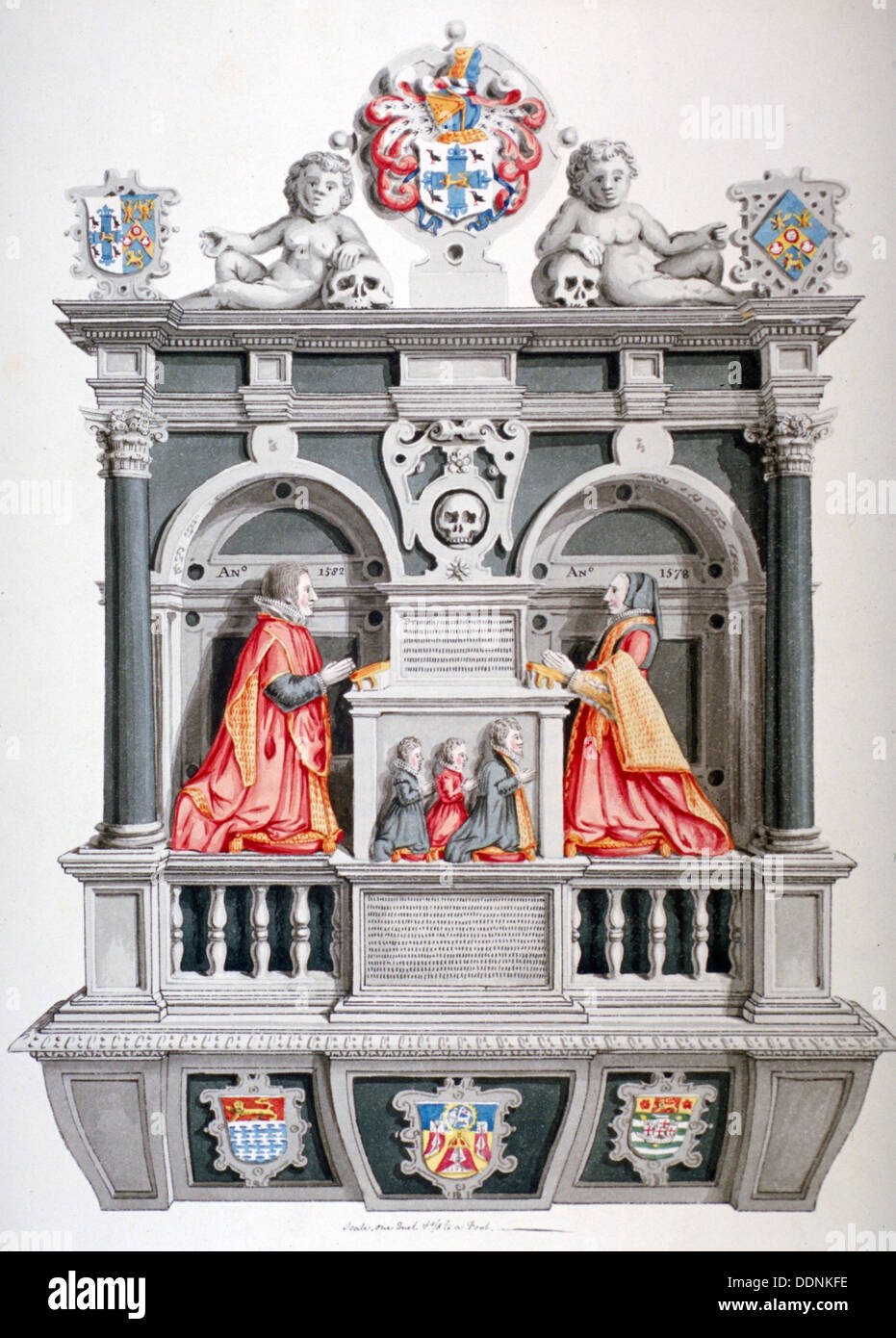 Monument in the Church of St Andrew Undershaft, Leadenhall Street, London, c1810 Artist: Thomas Fisher - Stock Image