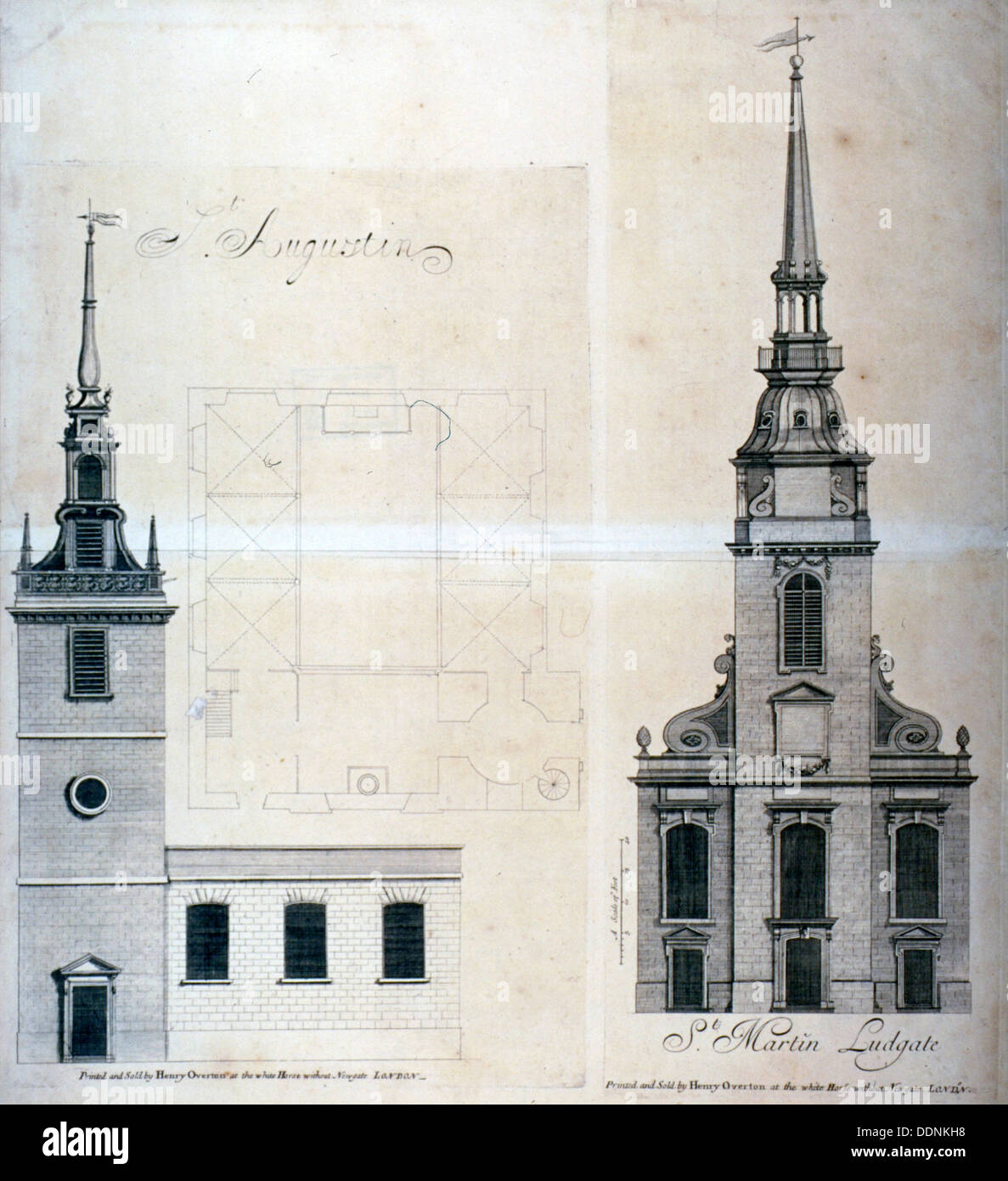 Elevation and plan of St Augustine, Watling Street, City of London, 1740.             Artist: Anon - Stock Image