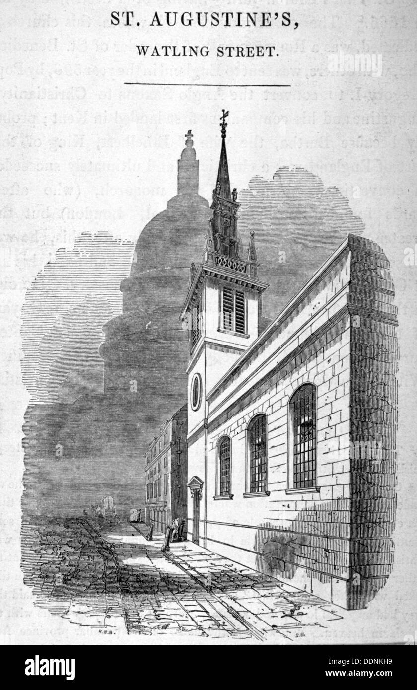 View of St Augstine, Watling Street, City of London, 1850.      Artist: SW - Stock Image