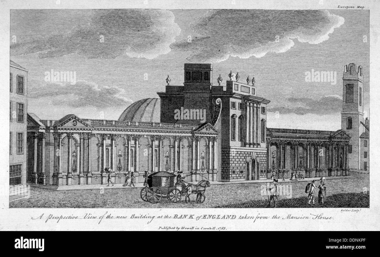 View of the new building at the Bank of England, City of London, 1785.  Artist: John Goldar