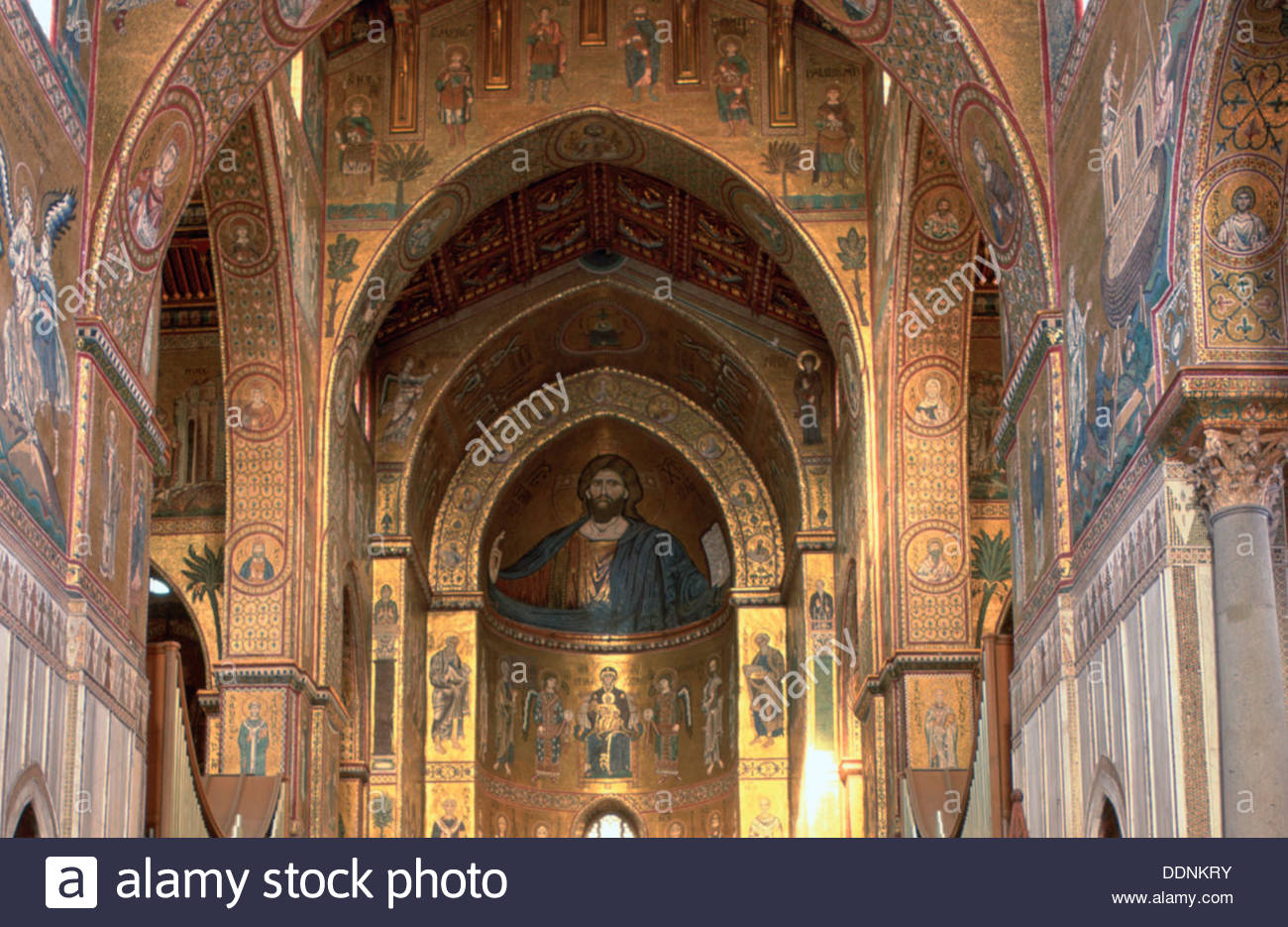 Interior of Monreale Cathedral, Sicily, Italy. Artist: Dr Stephen Coyne - Stock Image