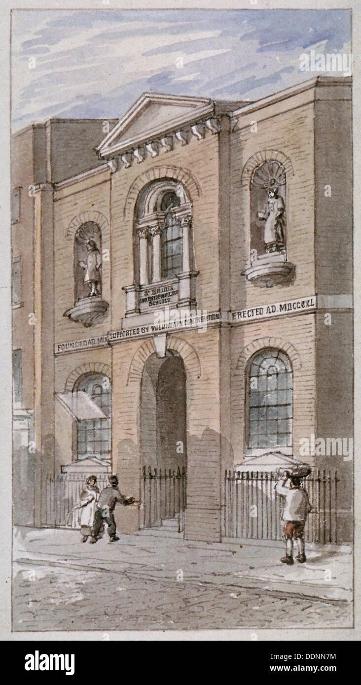 St Bride's Schools, Bride Lane, City of London, 1840. Artist: James Findlay - Stock Image